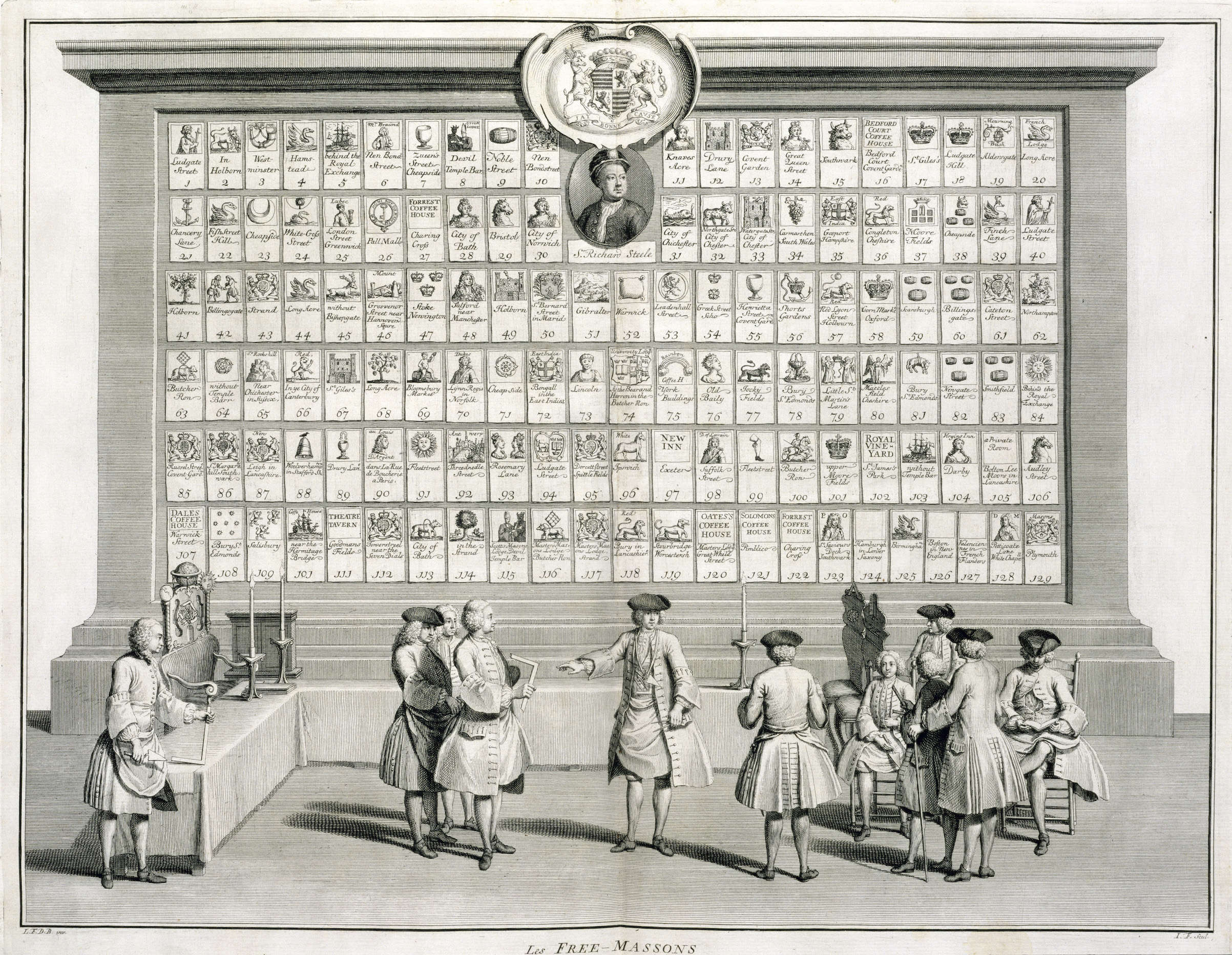 Freemasons, with signs for the various lodges, c1733.