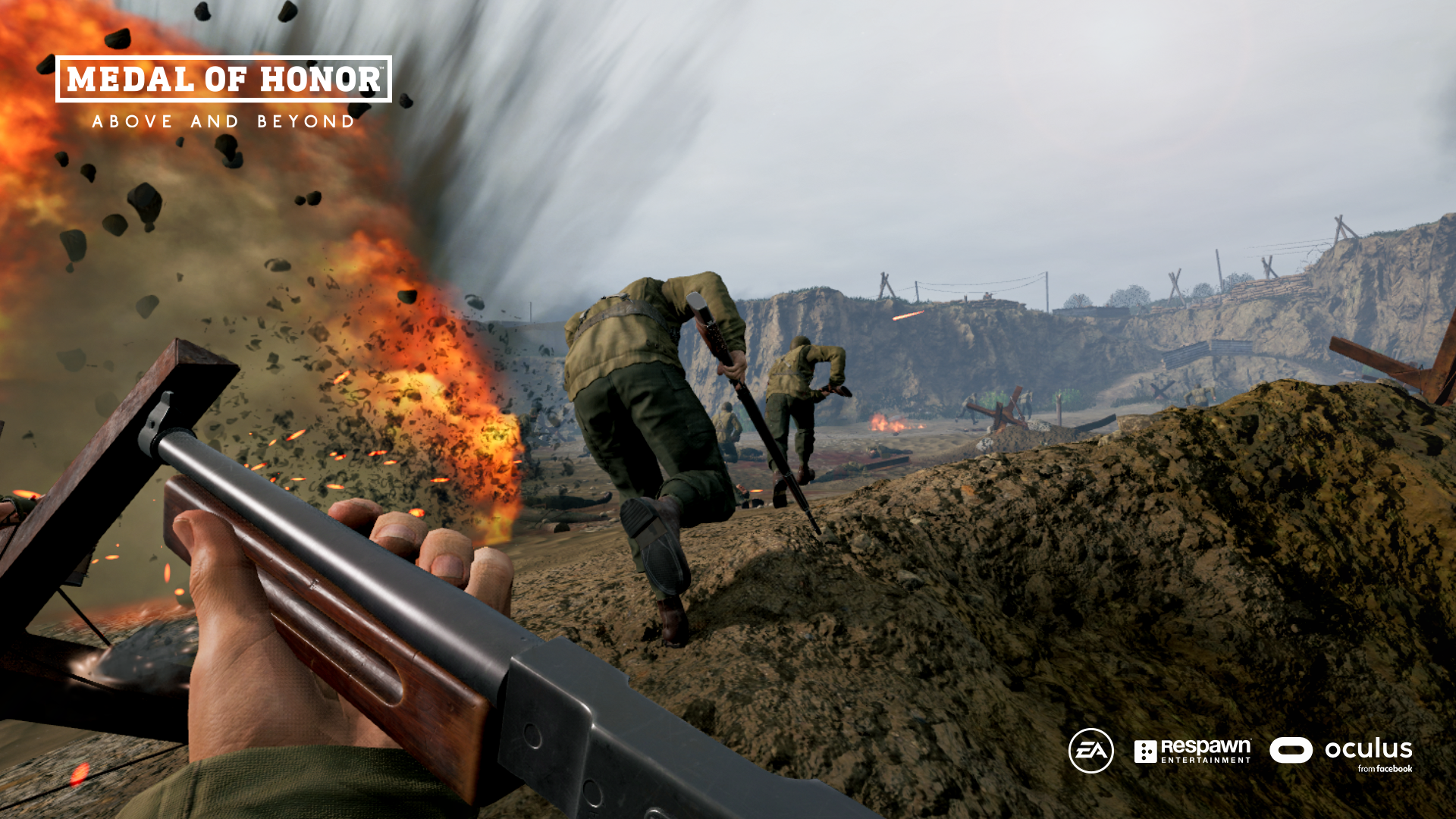 A scene from the upcoming virtual-reality game Medal of Honor: Above and Beyond.