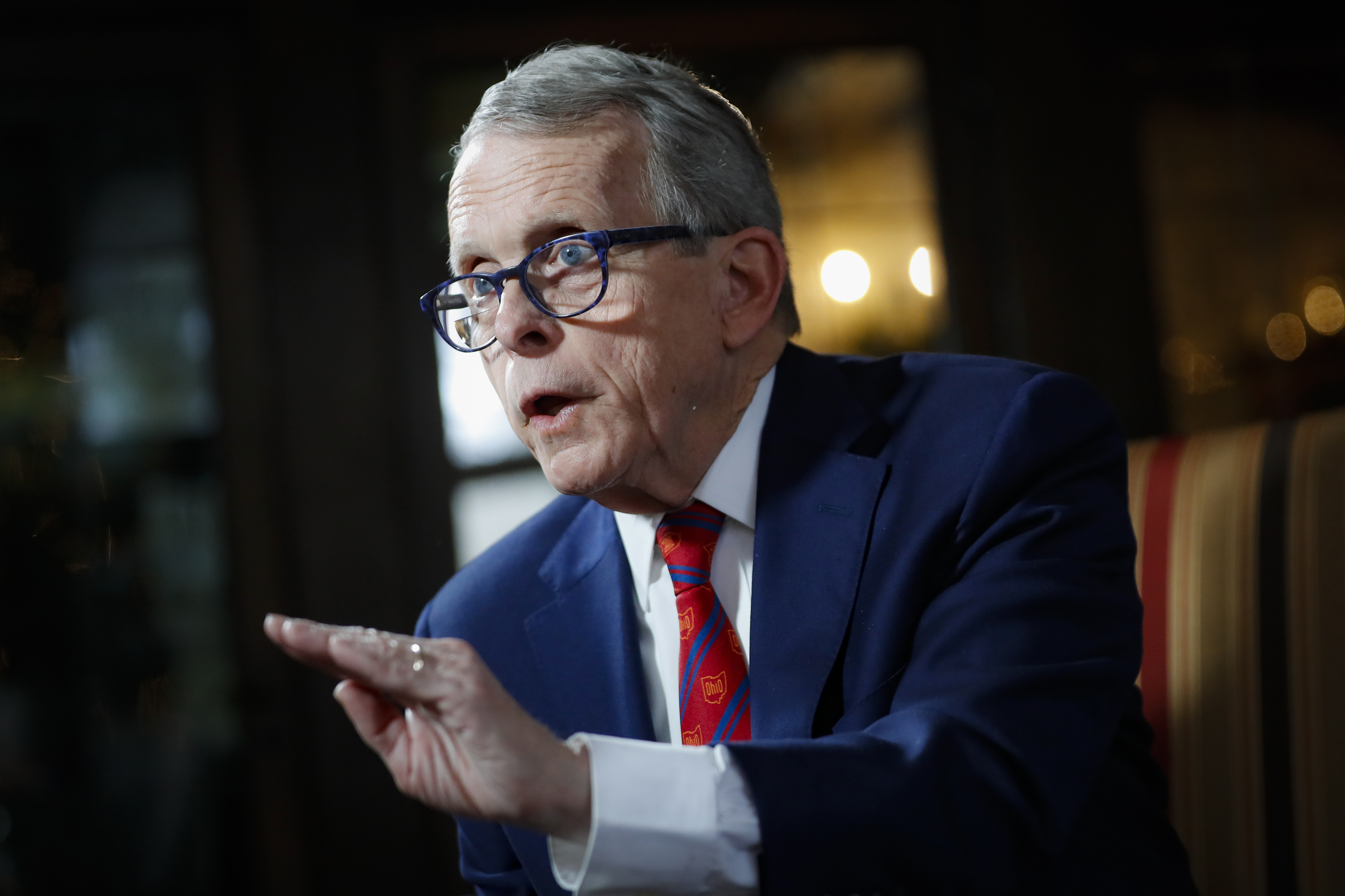 In this Dec. 13, 2019, file photo, Ohio Gov. Mike DeWine speaks about his plans for the coming year during an interview at the Governor's Residence in Columbus, Ohio.