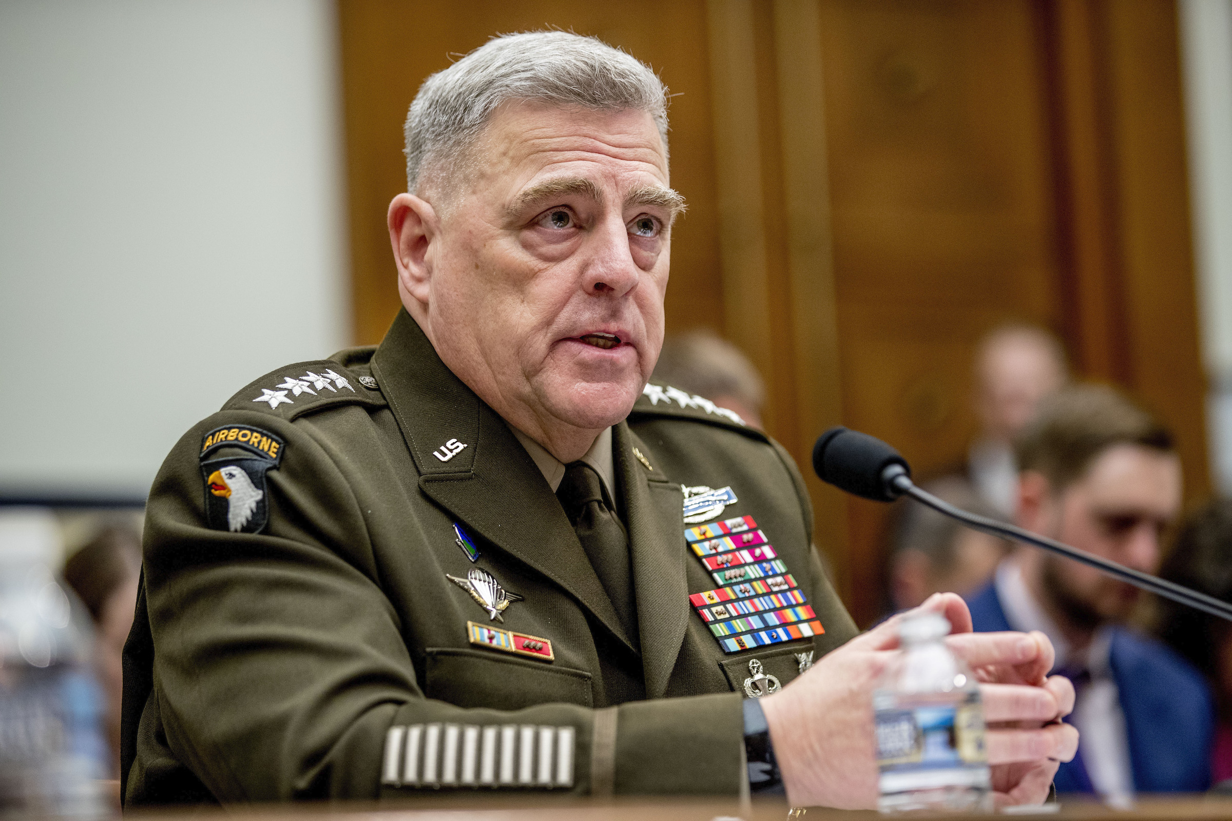 Joint Chiefs Chairman Gen. Mark Milley speaks at a House Armed Services Committee hearing on Capitol Hill, on Feb. 26, 2020, in Washington.