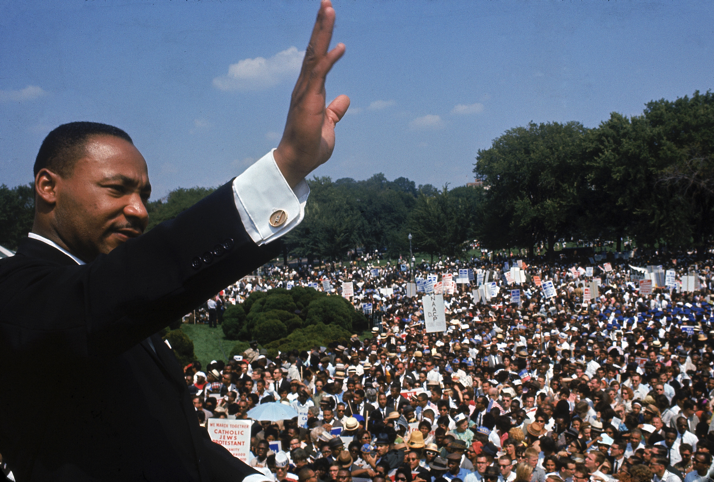 Martin Luther King Jr. addressing crowd of demonstrators outside the Lincoln Memorial during the March on Washington for Jobs and Freedom