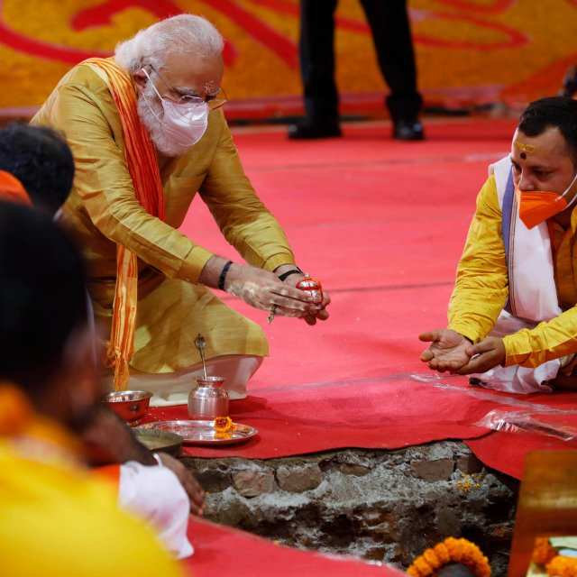Modi Breaks Ground at Controversial Hindu Temple