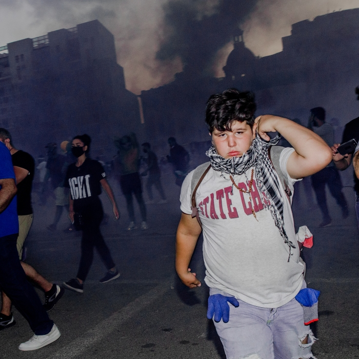 A young protester near Beirut's Martyrs' Square during the Aug. 8 demonstration.