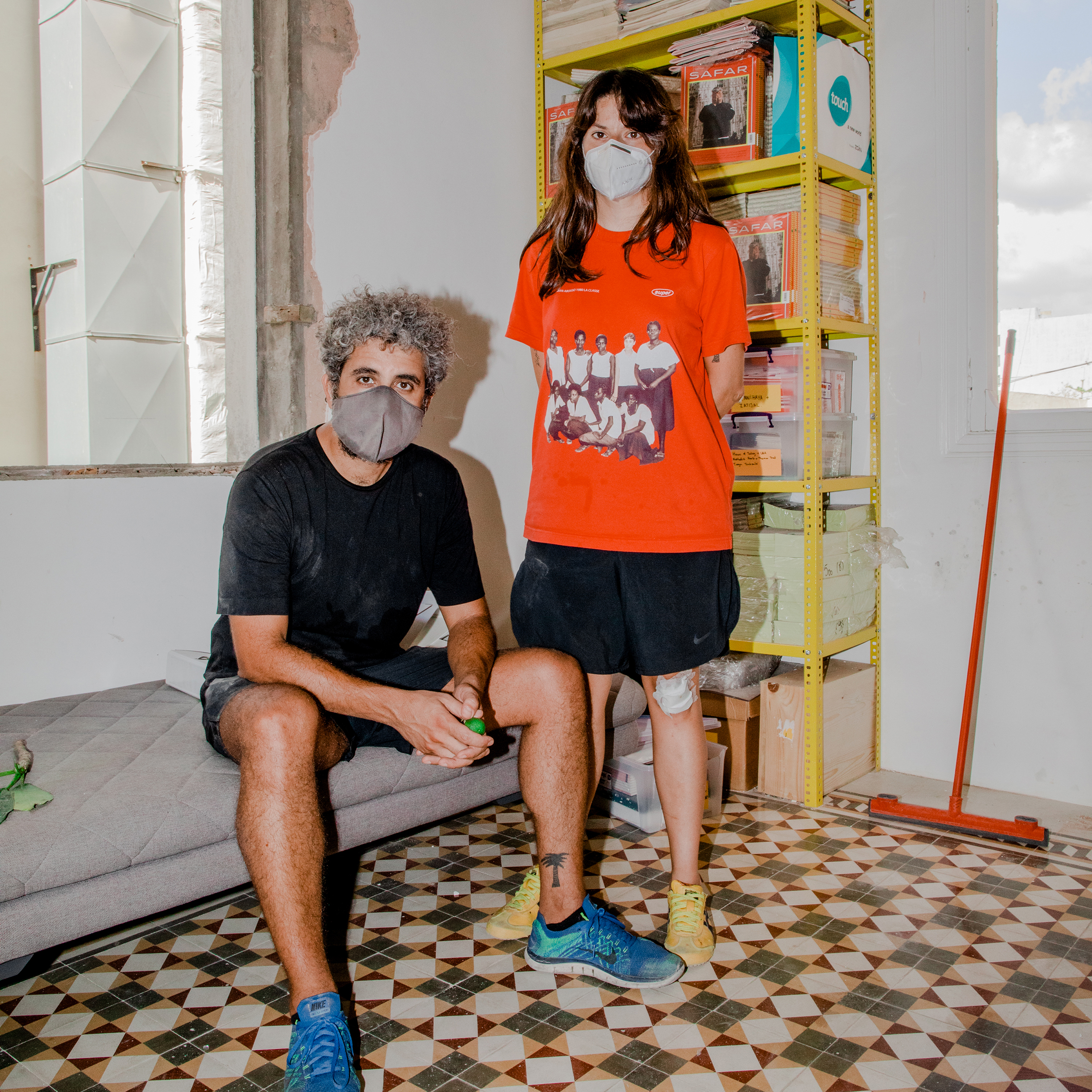 Hatem Imam and Maya Moumne of Studio Safar, a design and communications agency, photographed on Aug. 10. The explosion  effectively eradicated any semblance of normalcy, and with it any remnant of decency,  the pair said.  The obscenity of the negligence of a state that knowingly stores 2,750 tons of highly explosive materials in its capital's port is only multiplied by this state's sickening lack of recourse in the aftermath.