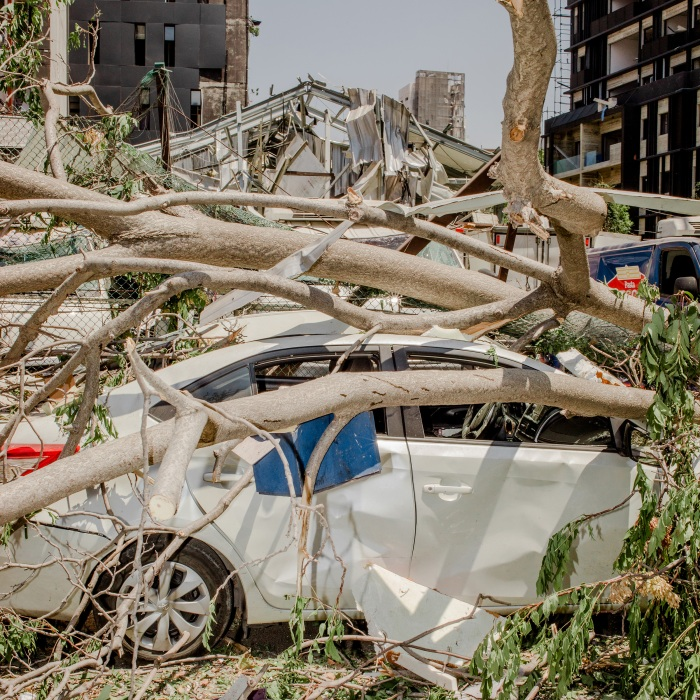 Branches rest on a sedan. The blast, estimated at one tenth the size of the atomic explosion at Hiroshima, sent a wave of destruction six miles across a city already reeling from shortages of food, water and electricity.