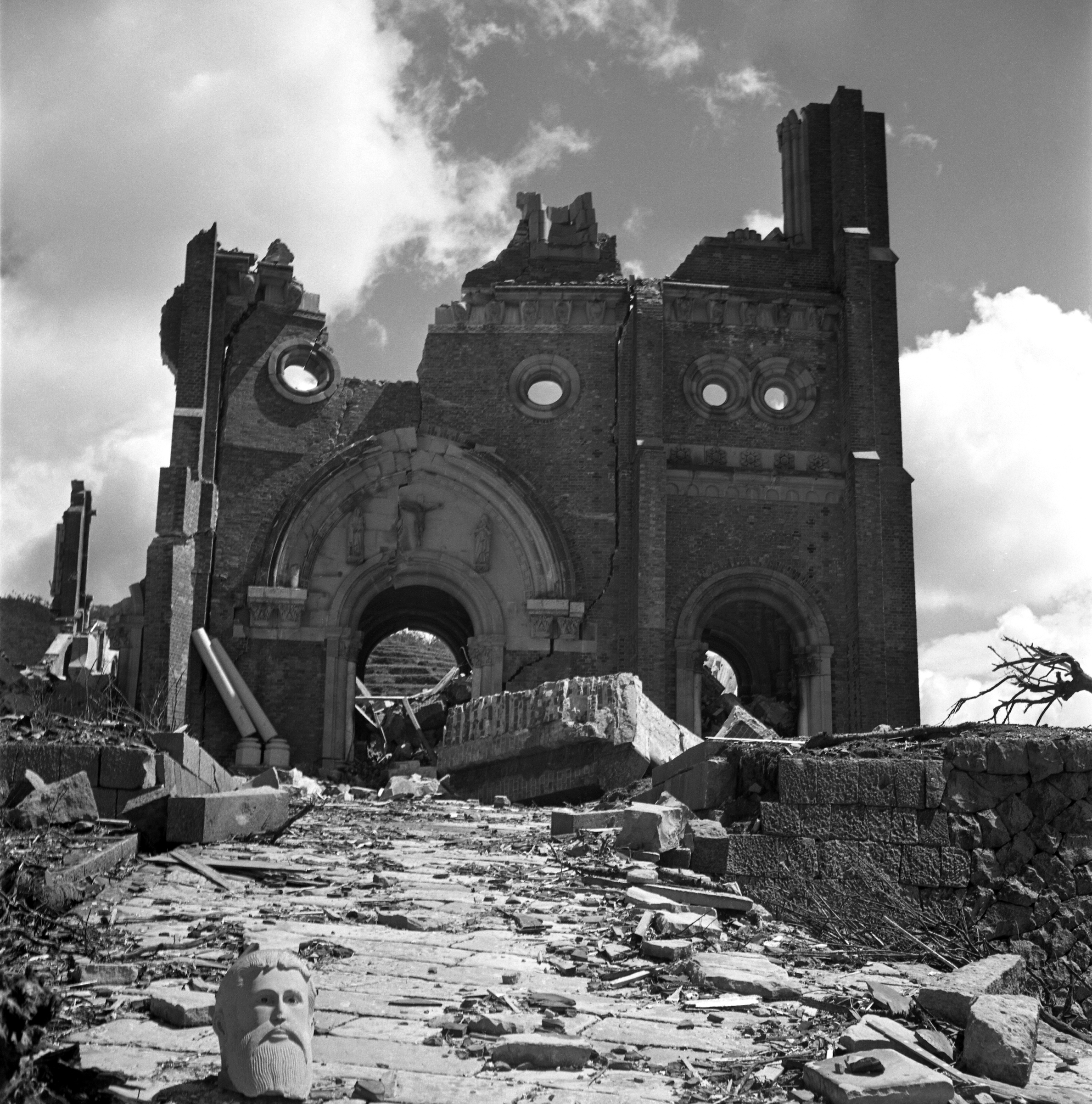 Urakami Cathedral stands in the ruins and destruction after the atomic bomb fell on Nagasaki