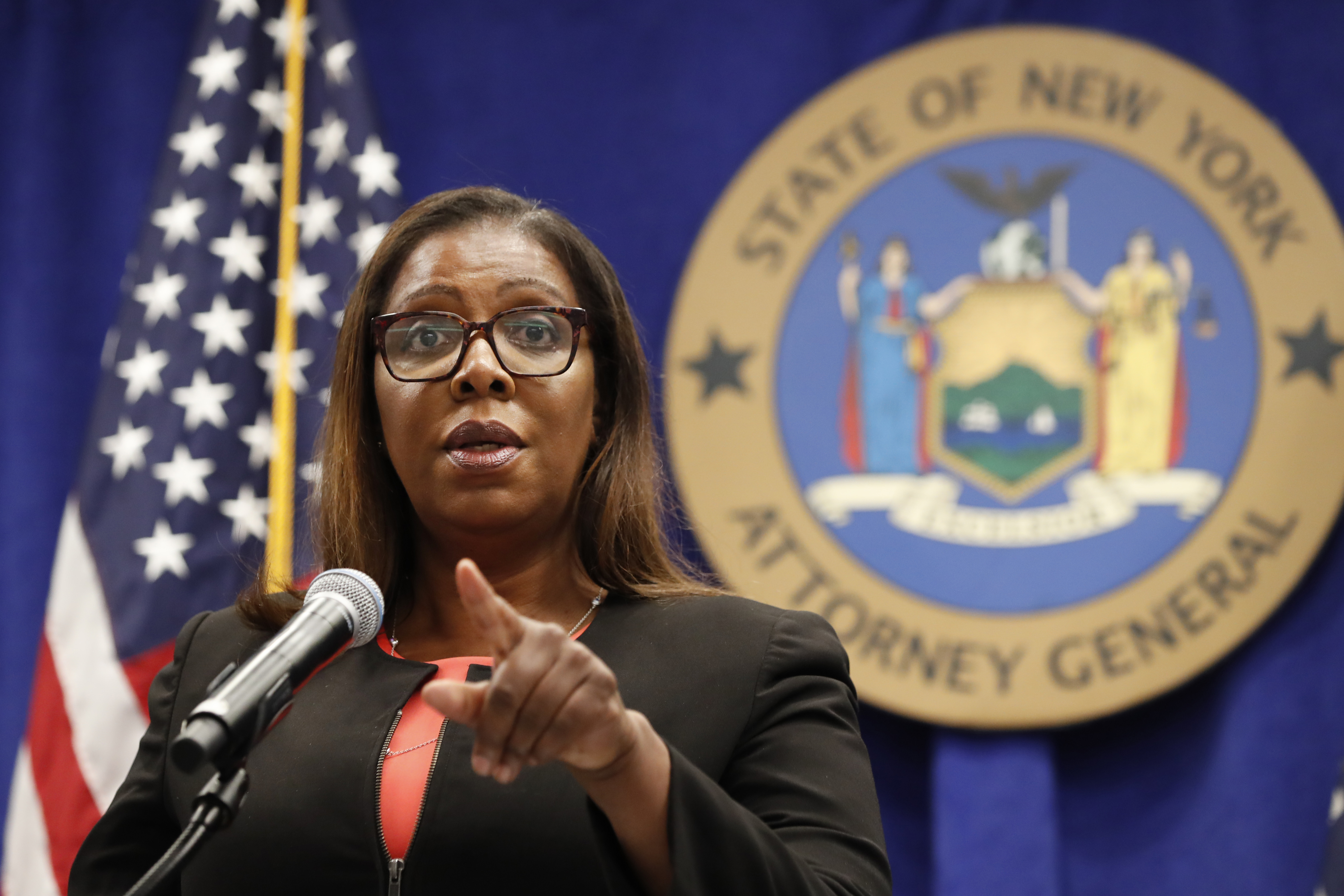 New York State Attorney General Letitia James takes a question after announcing that the state is suing the National Rifle Association during a press conference, Aug. 6, 2020, in New York.