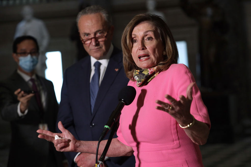 U.S. Speaker of the House Rep. Nancy Pelosi and Senate Minority Leader Sen. Chuck Schumer speak to members of the press after a meeting with Treasury Secretary Steven Mnuchin and White House Chief of Staff Mark Meadows at the U.S. Capitol August 7, 2020 in Washington, DC.