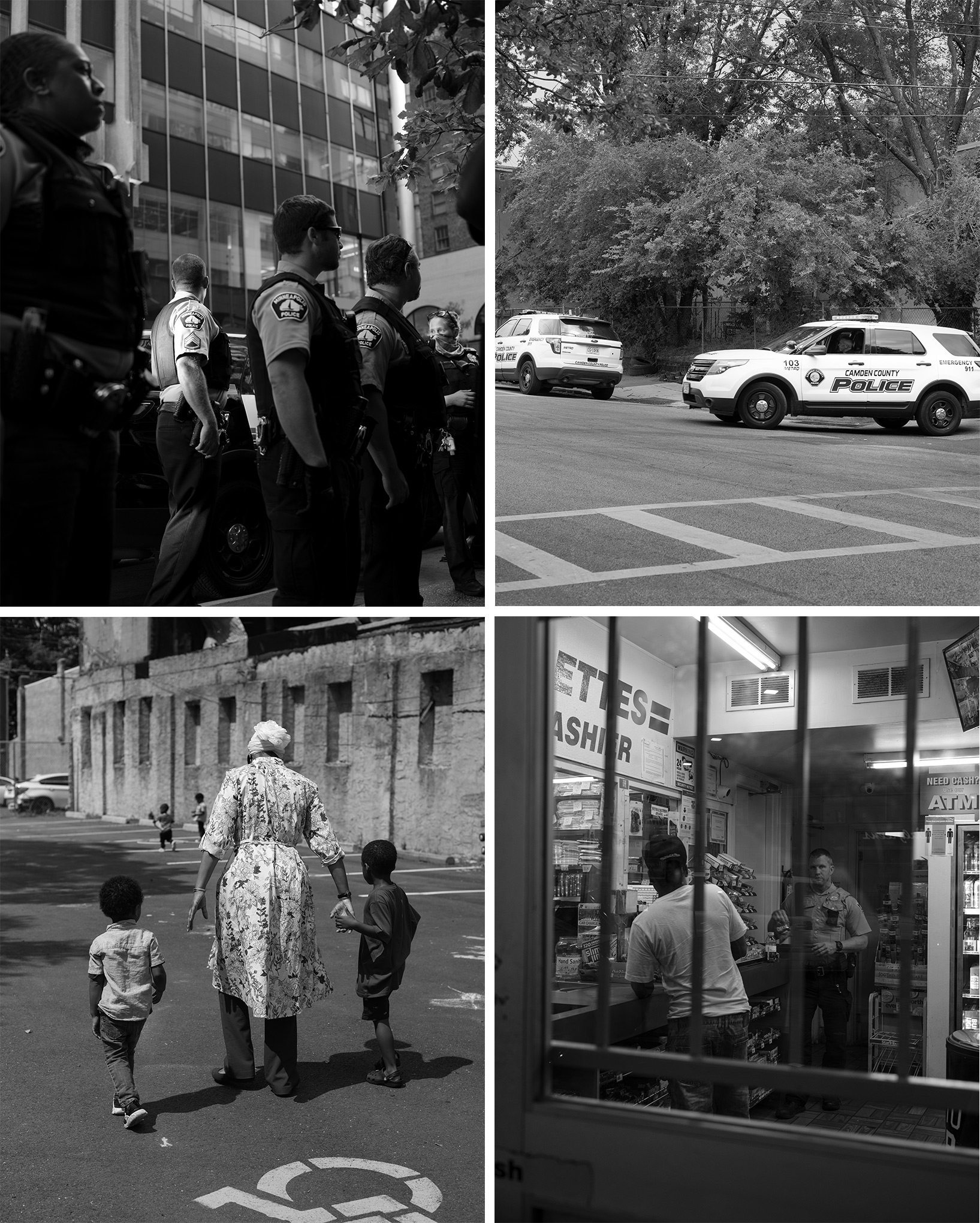 Clockwise from top left: Police officers in Minneapolis;  two Camden County, N.J., police vehicles; an officer at a Minneapolis gas station; and Sister Chabree Muhammad, with kids in Camden in July.