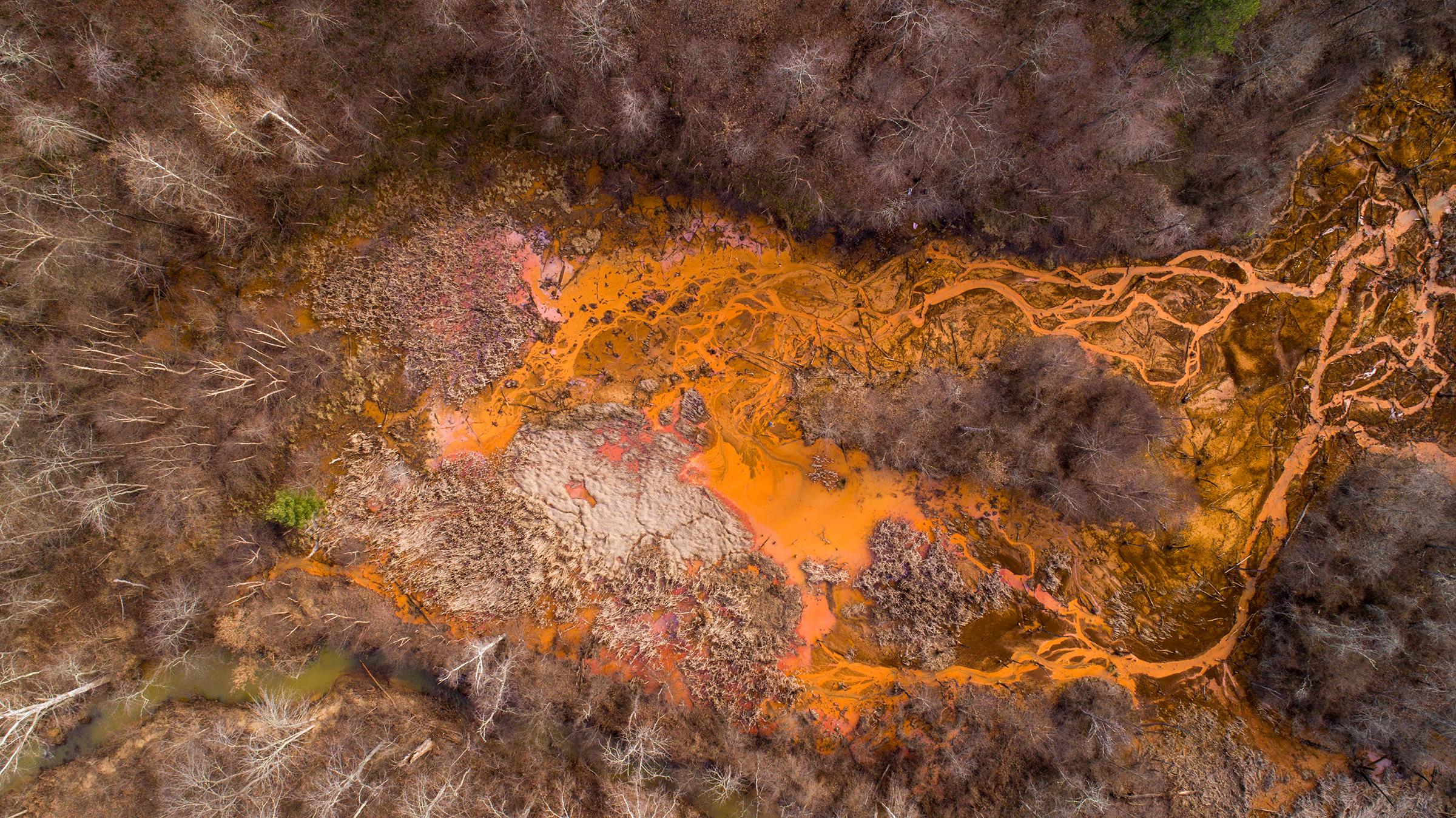 Aerial view of the acid mine drainage near Oreton, Ohio in 2018.