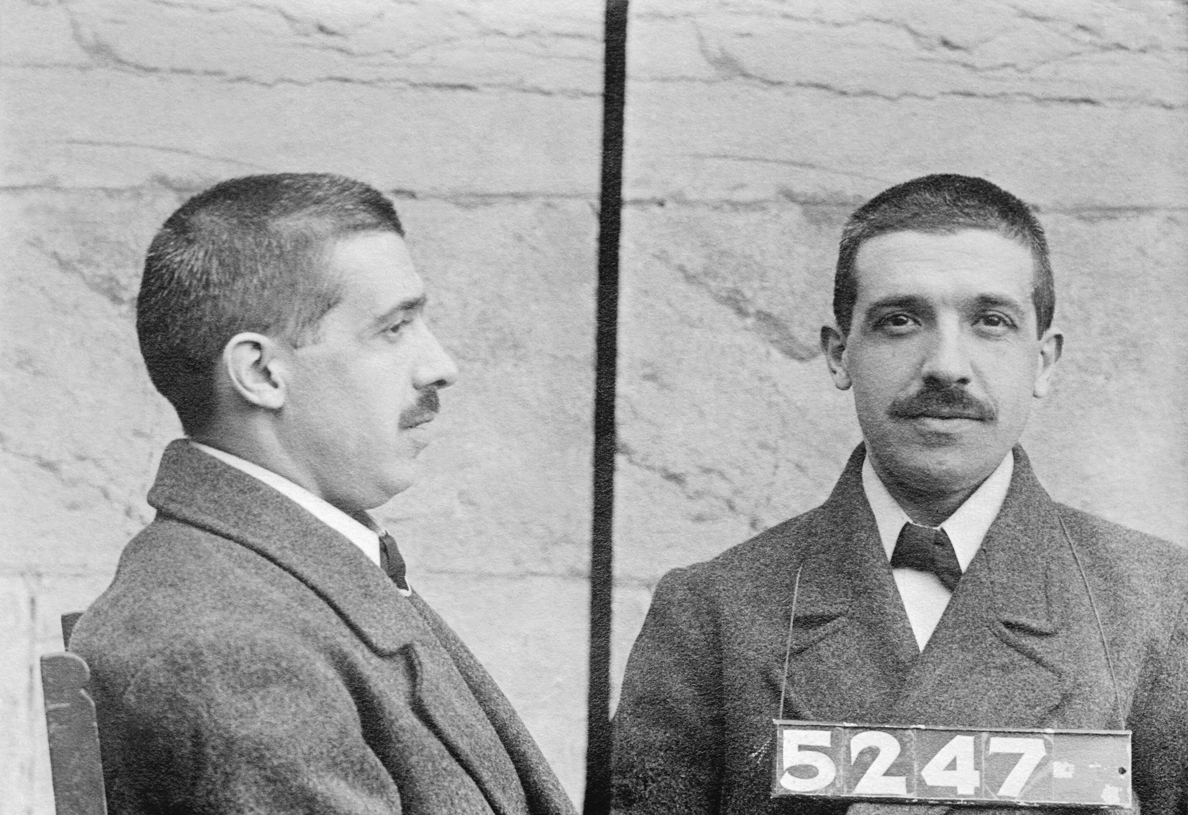 Mug shots of Charles Ponzi, Boston financial wizard.