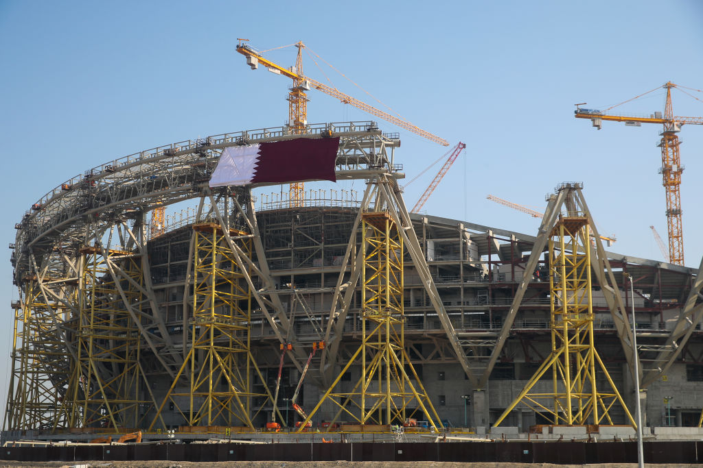 A general exterior view of the construction of the Lusail Iconic Stadium in Doha, Qatar. Venue for the FIFA Qatar World Cup 2022, Doha, Qatar on Dec. 21, 2019 in Doha, Qatar.