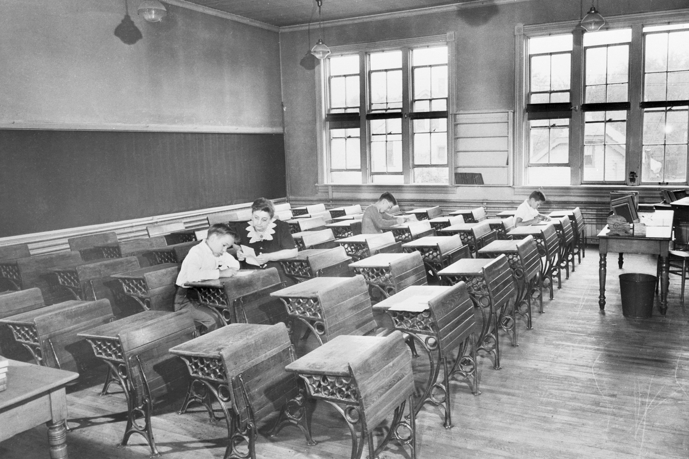 Milwaukee sixth grade school teachers faced row upon row of empty seats when school opened on Sept. 6, 1944, due to the polio quarantine in effect