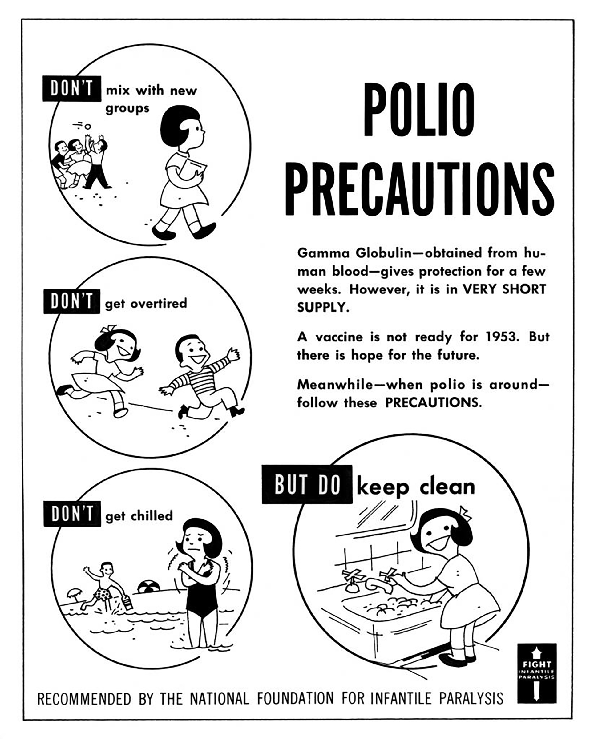 Polio Poster Cartoon developed by the National Foundation for Infantile Paralysis (early name for March of Dimes) in 1953