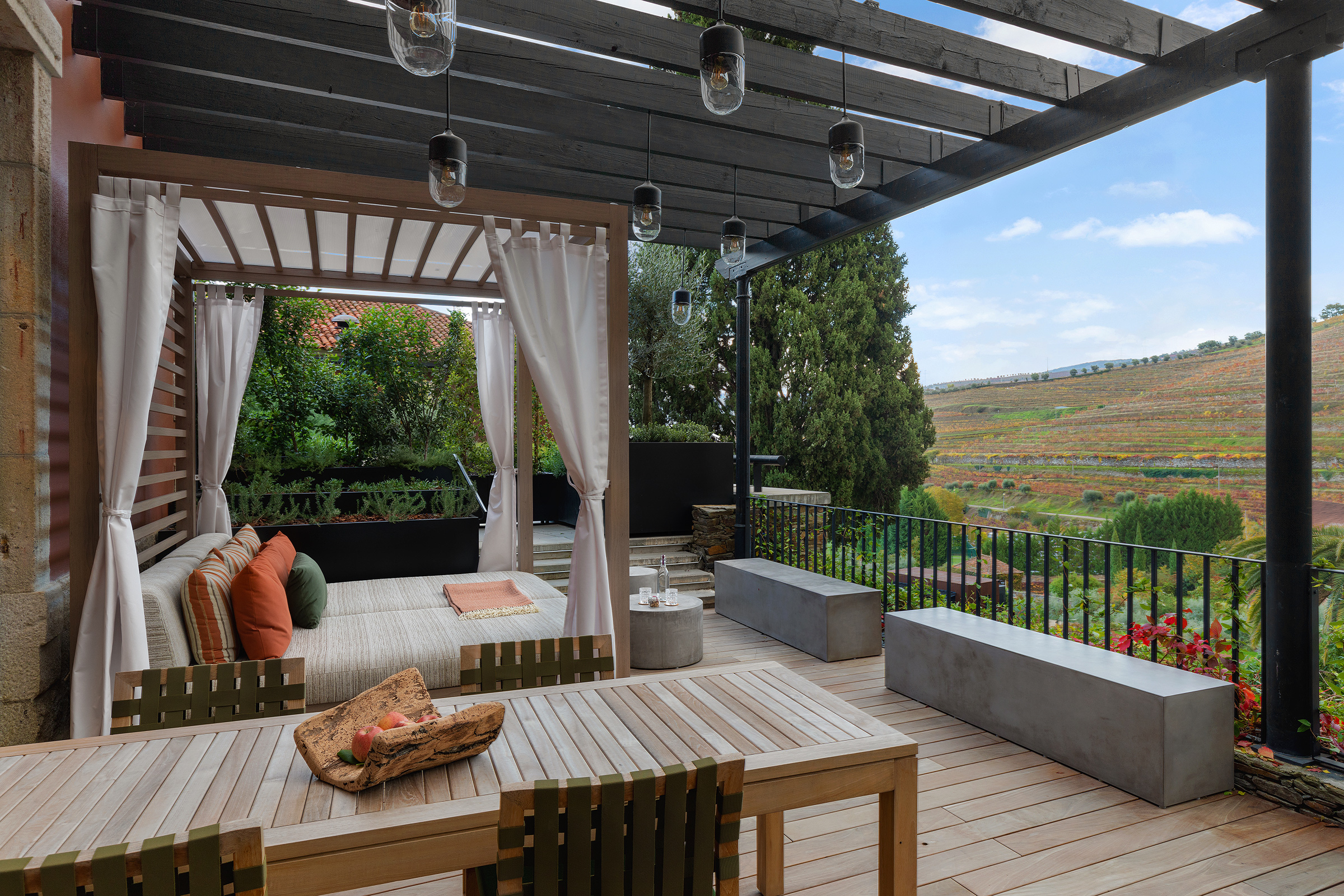 An outdoor resting spot at the Six Senses Douro Valley in Portugal