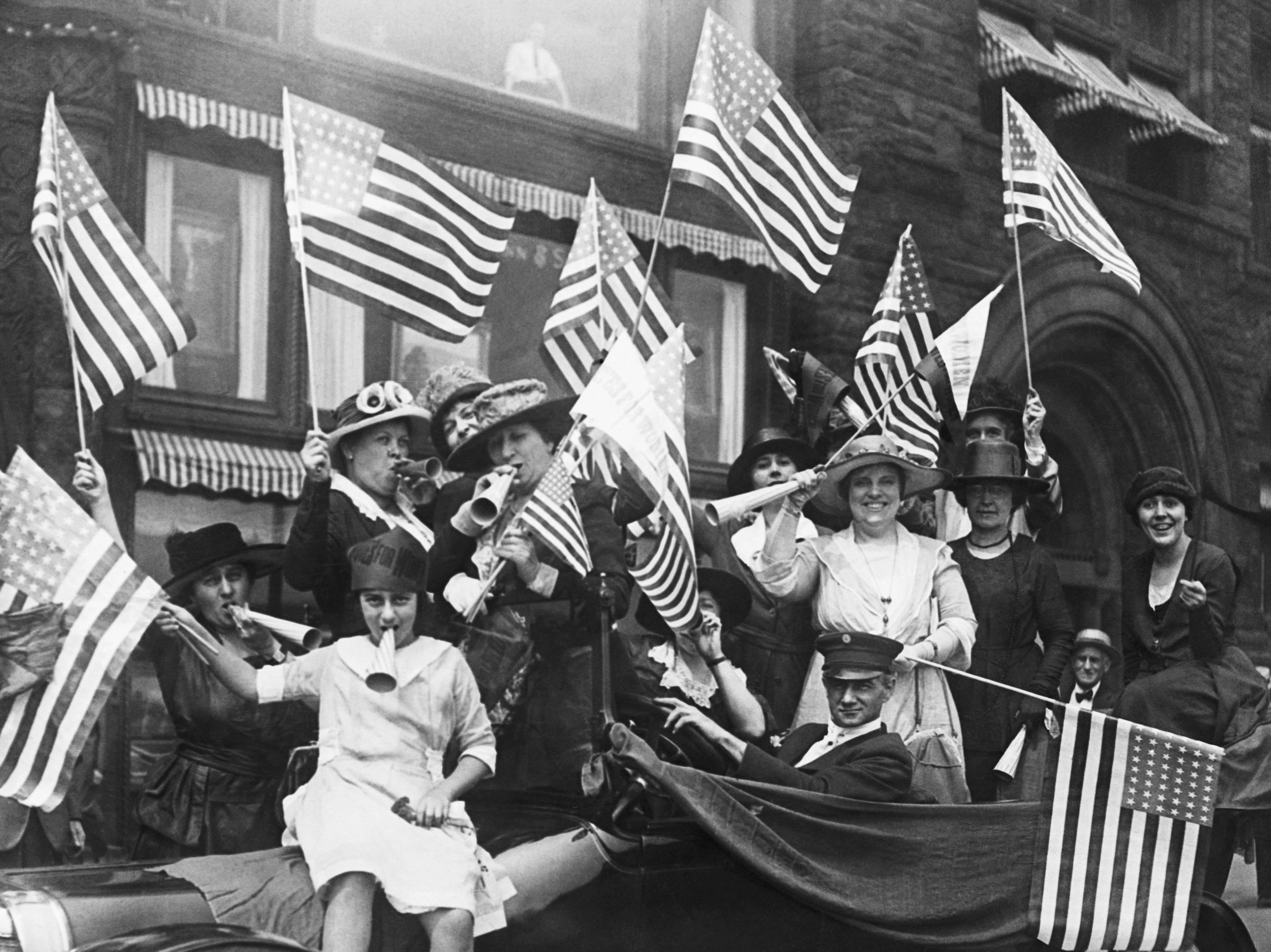 American suffragists hold a jubilee celebrating their victory following the passing of the 19th Amendment in August 1920.