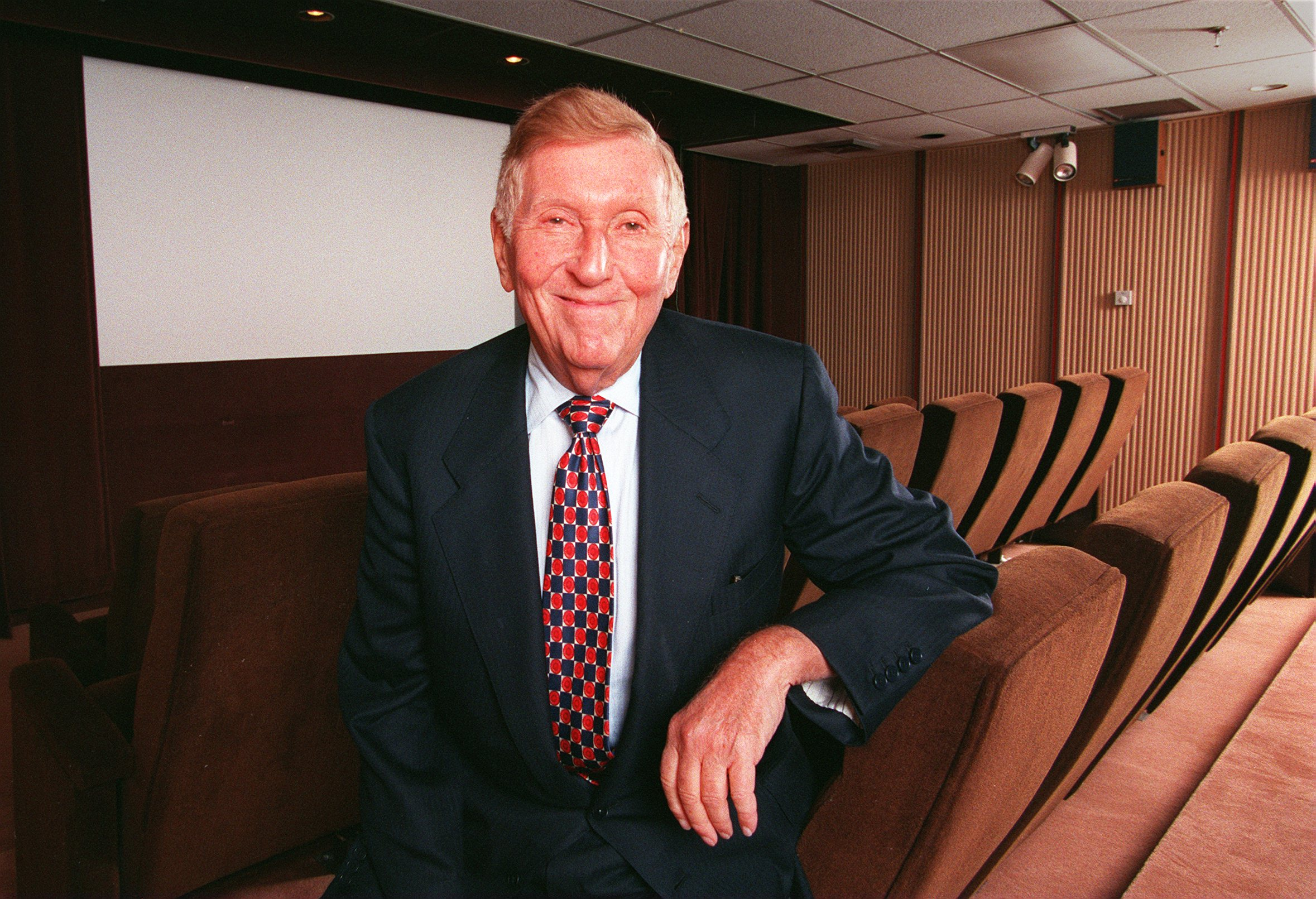 Viacom chairman Sumner Redstone in a screening room at National Amusements on October 2, 1998 in Dedham, Massachusetts.