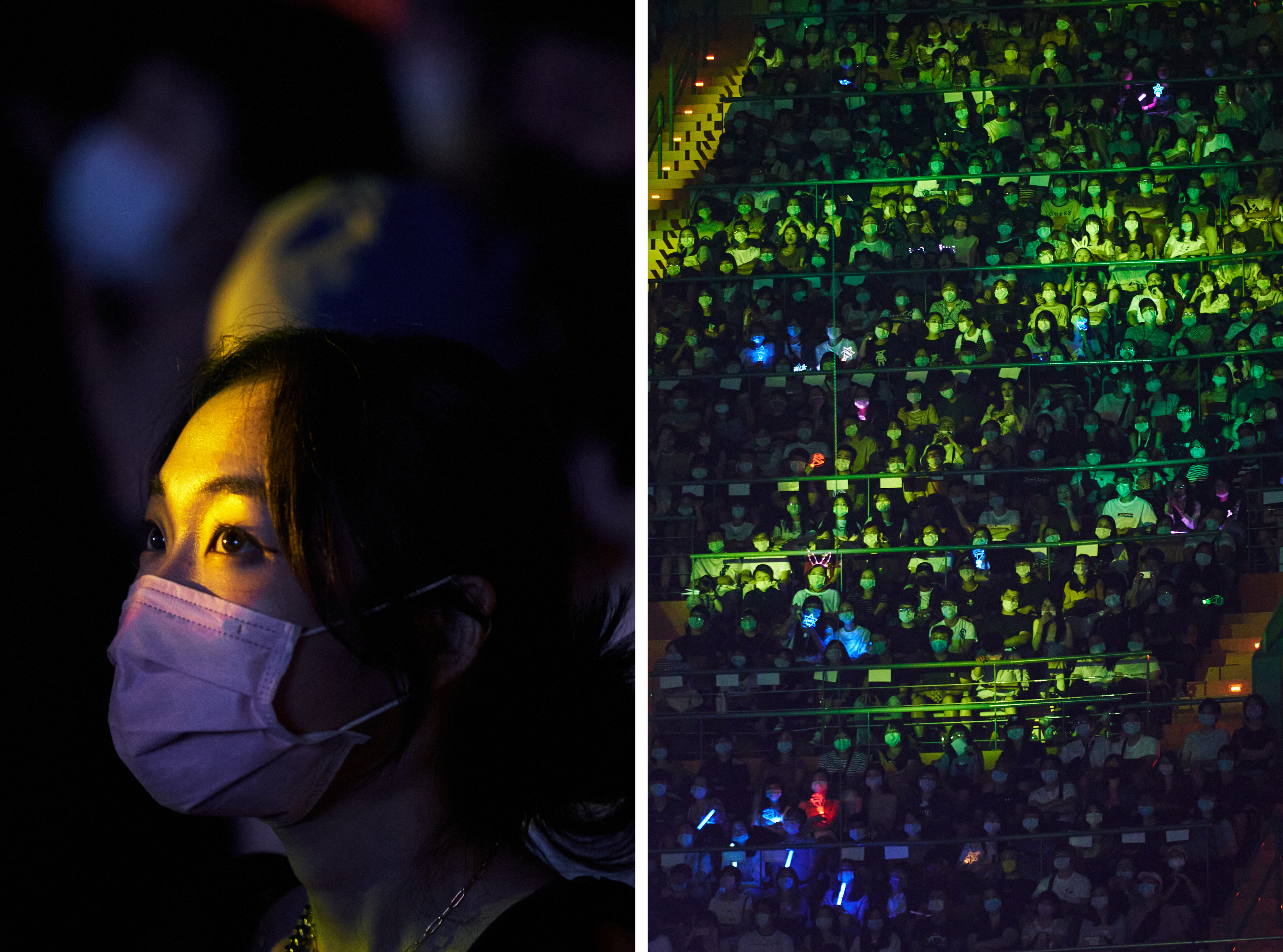Attendees of Eric Chou's 2020 How Have You Been concert watch as Chou takes the stage at the Taipei Arena
