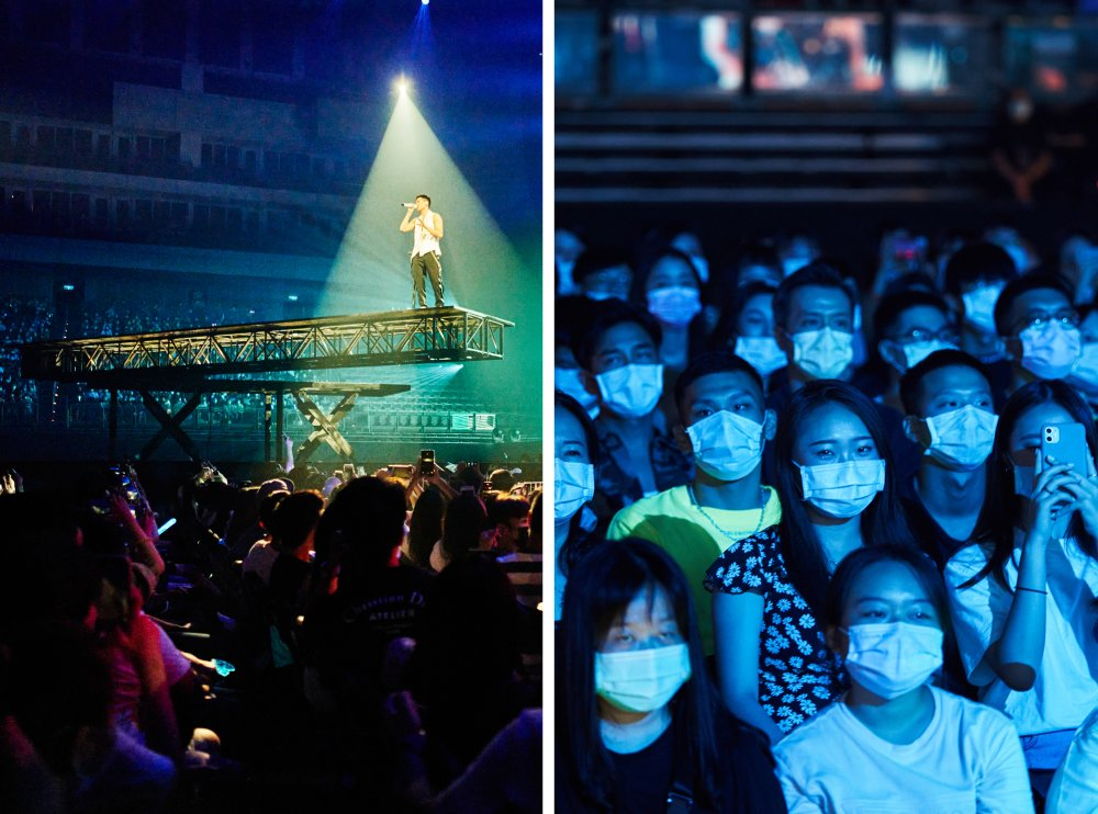 Left: Chou sings on an extended platform that rotated above concertgoers. Right: Attendees watch the live show from their seats, in masks