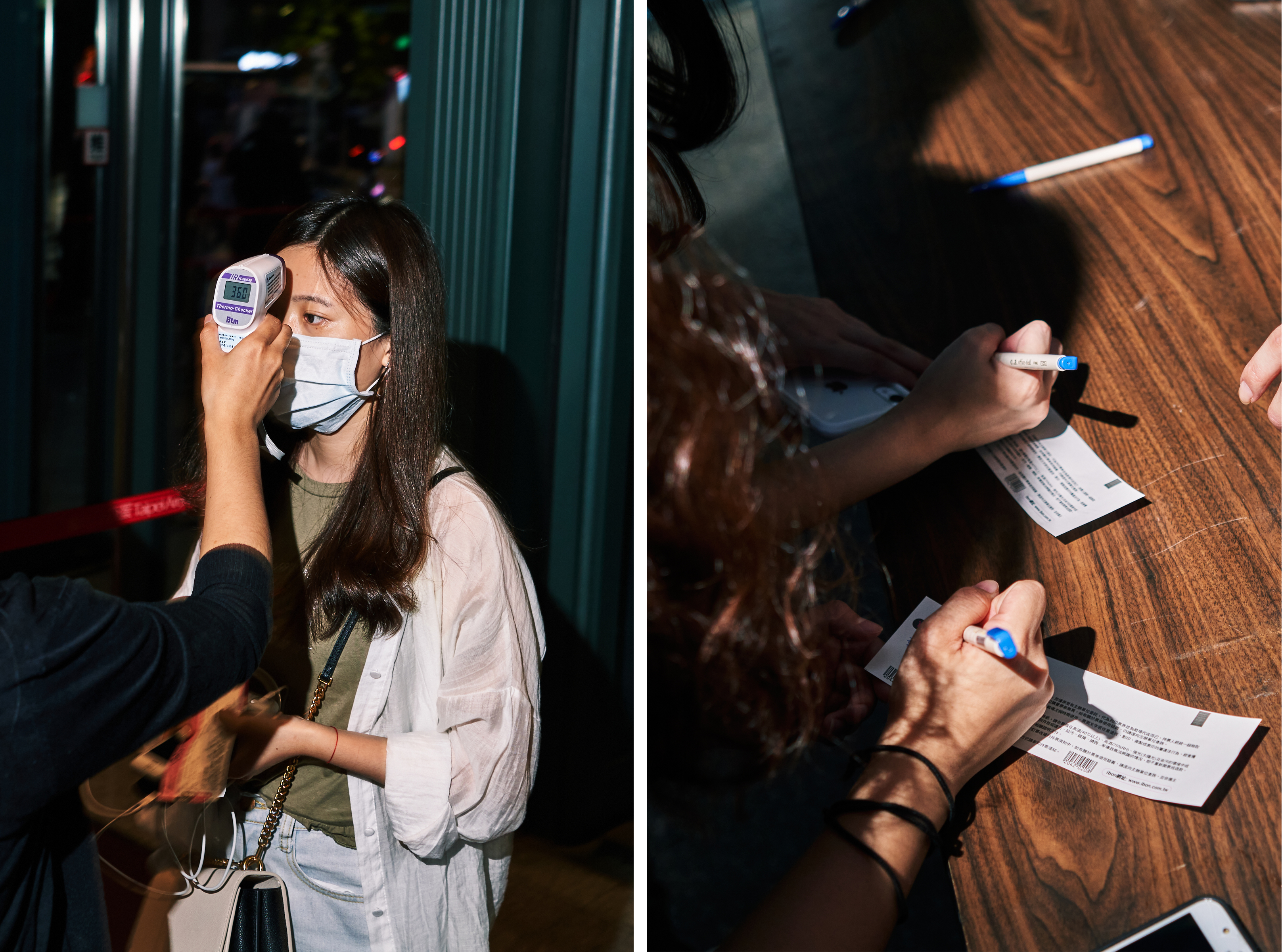 Left: An attendee receives a temperature check. Based on guidelines from the Taipei City Government Department of Health, no individual with a forehead temperature above 37.5°C (99.5°F) and ear temperature above 38°C (100.4°F) could enter the venue. Right: Attendees write personal information on their ticket stubs to submit to venue staff before entering the Taipei Arena