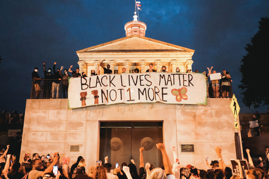 Protesters are seen marching upon the Tennessee State Capitol building on June 4, 2020 in Nashville, Tennessee.