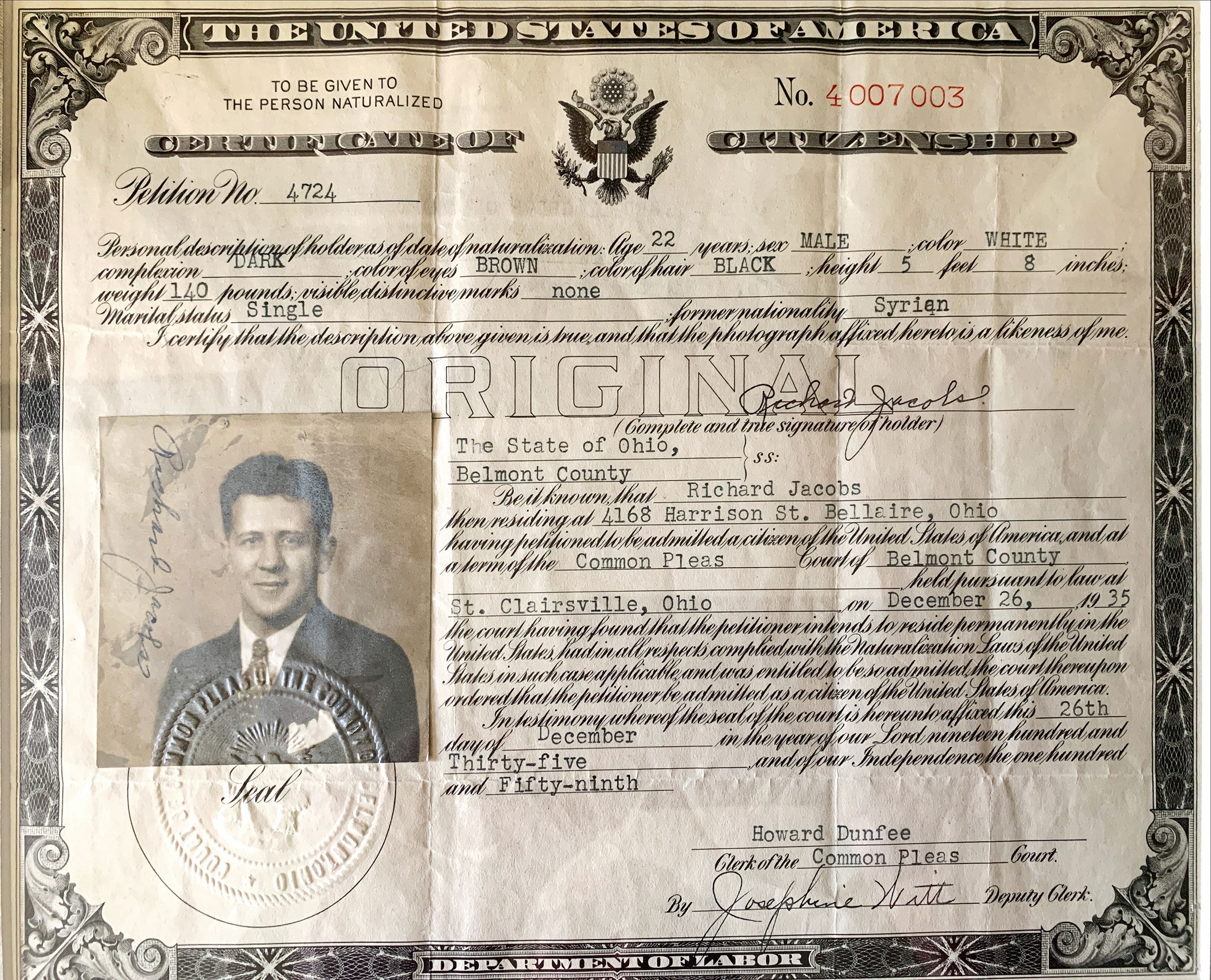 The citizenship papers of Henderson's grandfather.