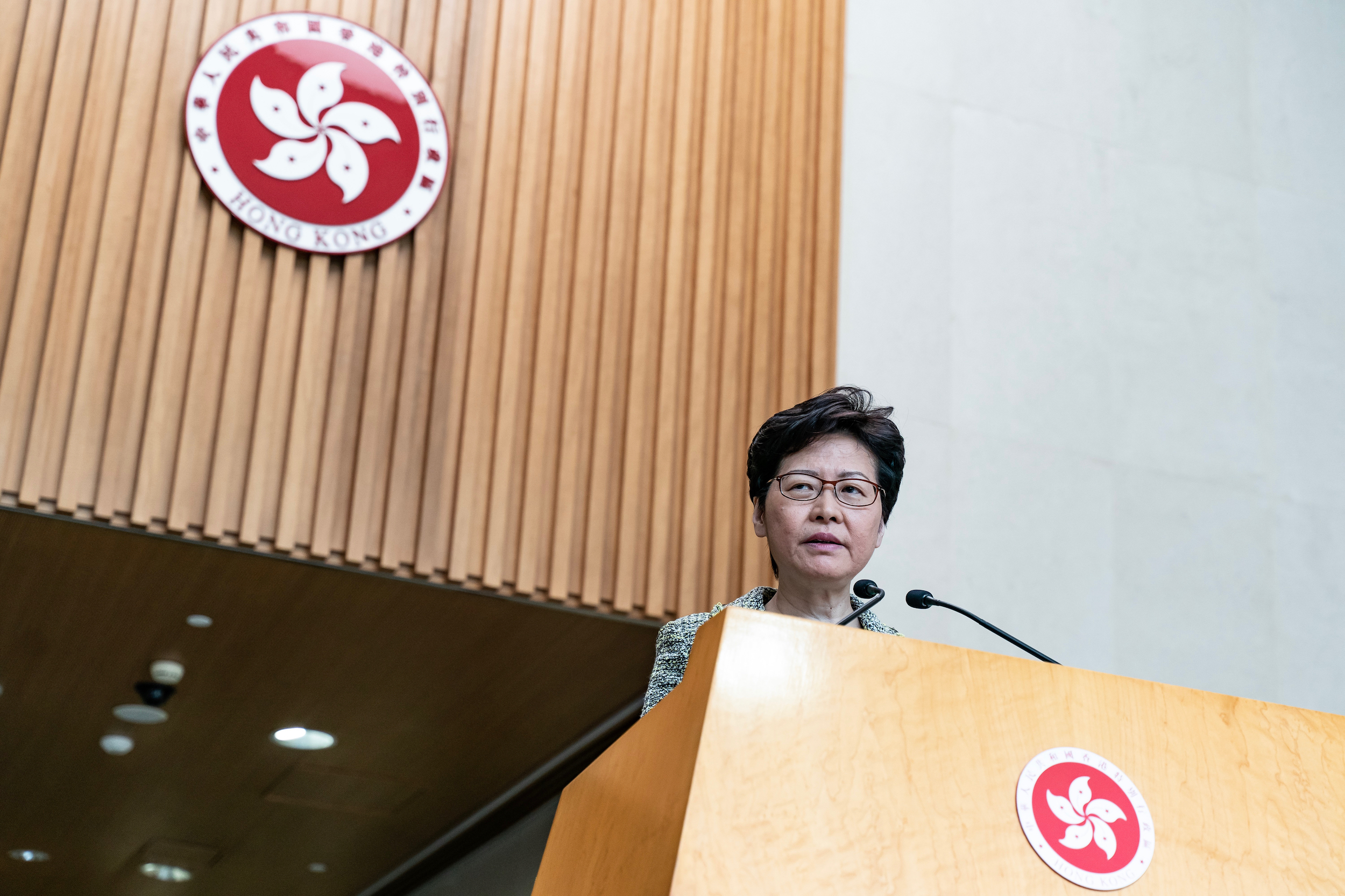 Hong Kong Chief Executive Carrie Lam speaks during a weekly press conference at Central Government Complex on September 24, 2019 in Hong Kong, China.