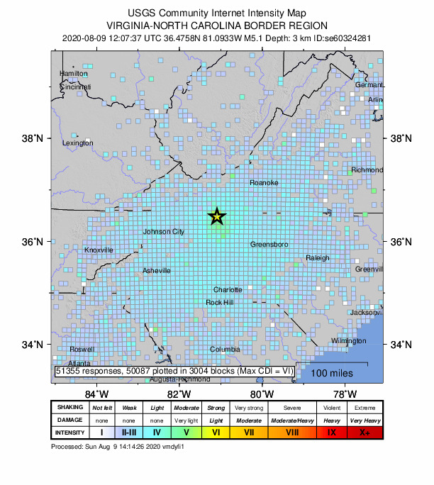 A map of responses collected by the US Geological Survey reporting effects of an earthquake that struck North Carolina on August 9, 2020.