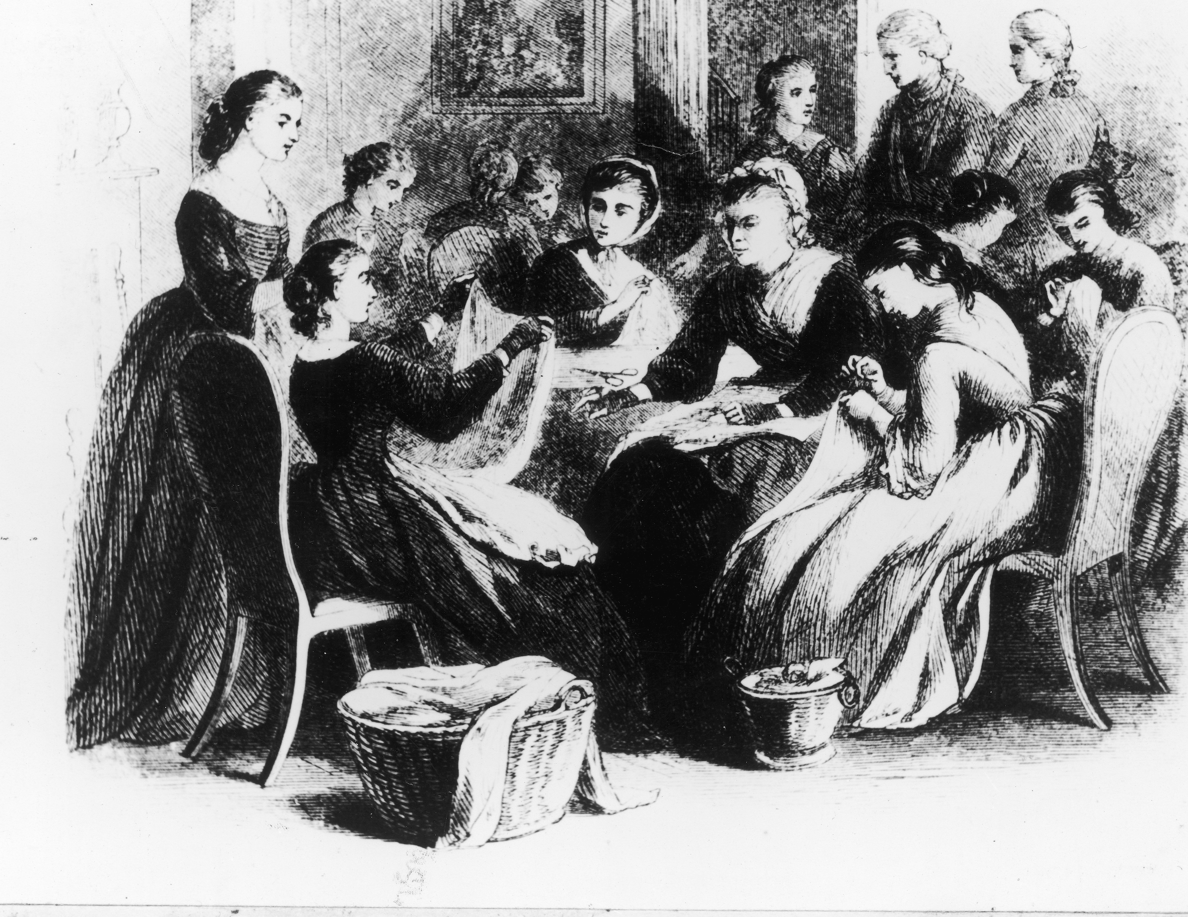 Woodcut depicting the ladies of Philadelphia working for Washington's Army, in 1780.