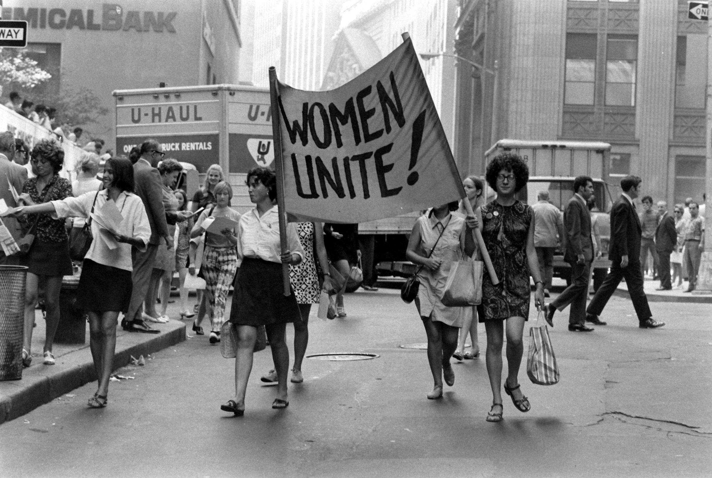 Women marching at the Women's Strike for Equality, New York, N.Y., Aug. 26, 1970.