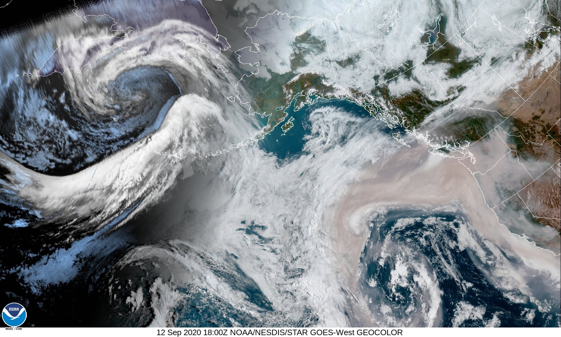 A satellite image of the Northeast Pacific taken by the U.S. National Oceanic and Atmospheric Administration (NOAA) on Sept. 12.