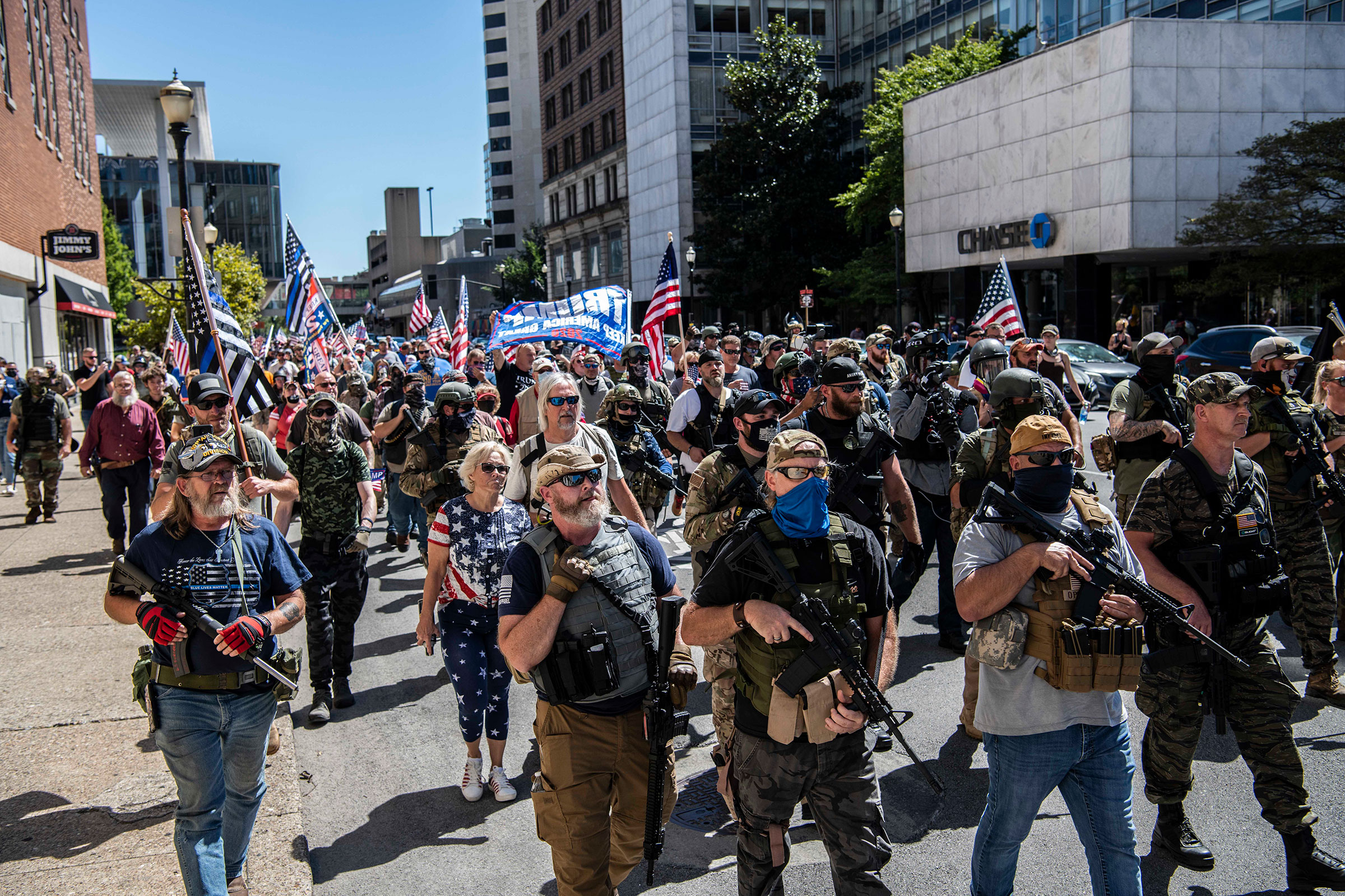 Armed pro-trump militia members during a demonstartion on the day of the Kentucky Derby in Louisville, Ky., September 5, 2020.