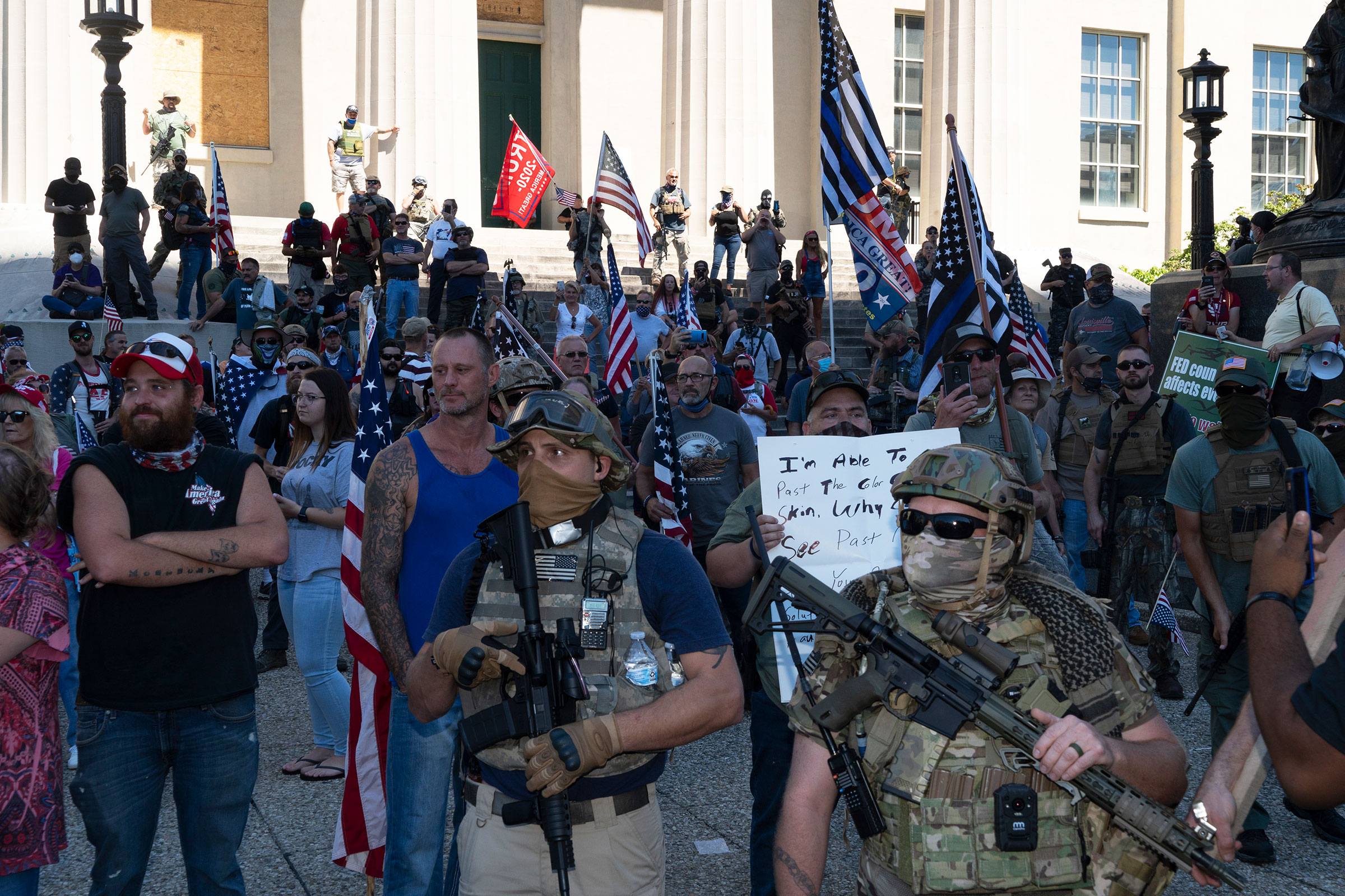 A right-wing group gathers at Jefferson Square, the site of the Breonna Taylor memorial Louisville, Ky., on Sept. 5, 2020.