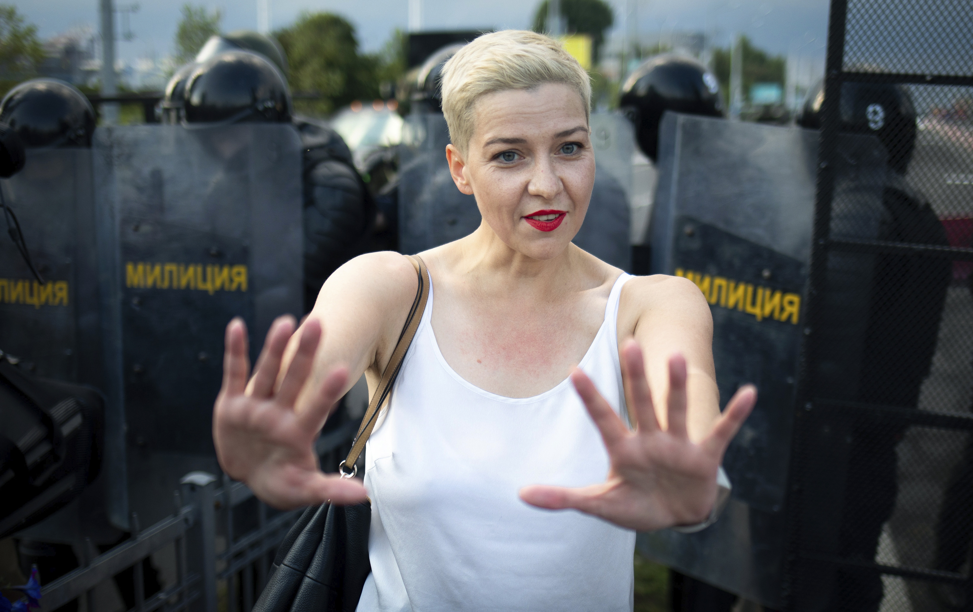 In this Aug. 30, 2020, file photo, Maria Kolesnikova, one of Belarus' opposition leaders, gestures during a rally in Minsk, Belarus.
