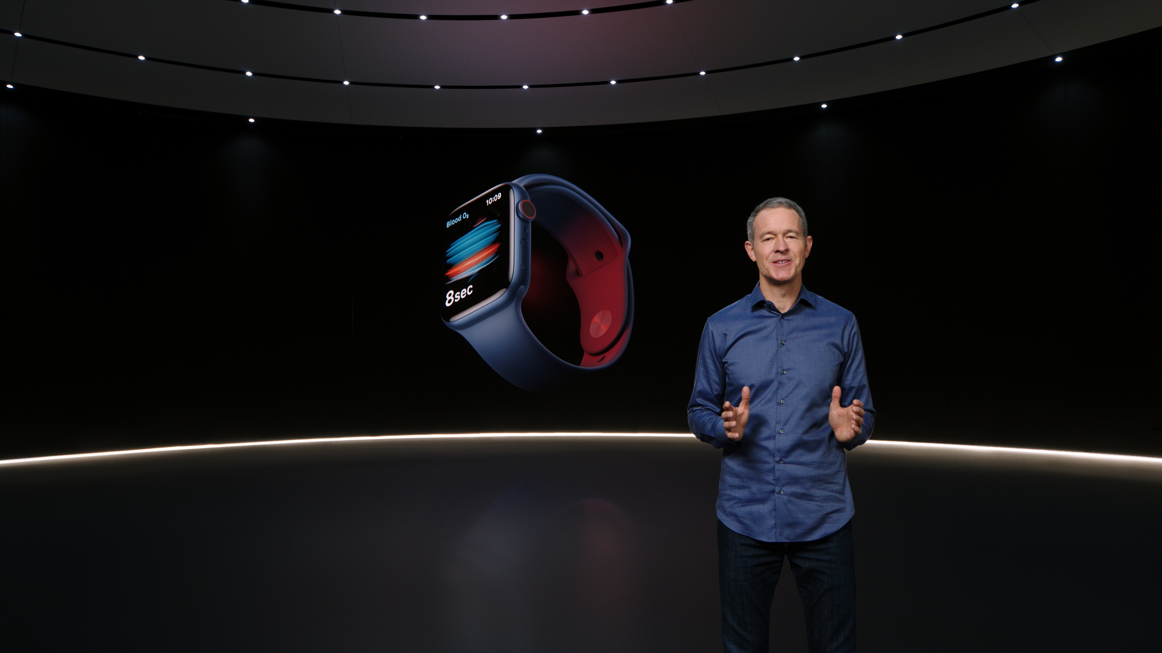 CUPERTINO, CALIFORNIA - SEPTEMBER 15, 2020: In this still image from the keynote video of a special event at Apple Park in Cupertino, California, Apple's Chief Operating Officer Jeff Williams unveils Apple Watch Series 6. (Photo Credit: Apple Inc.)