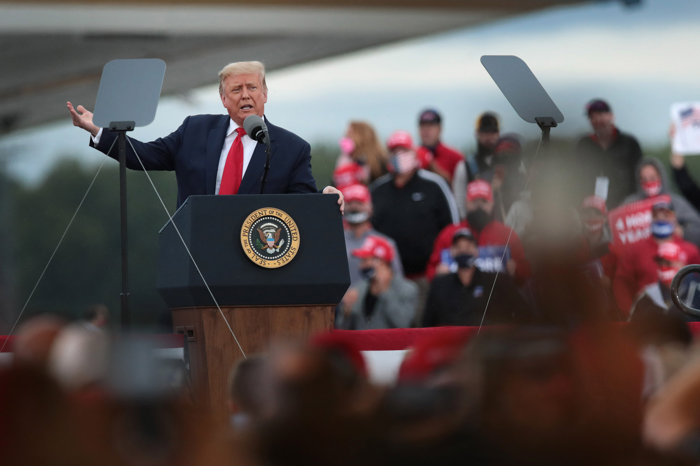 President Donald Trump speaks to supporters during a rally in Freeland, Mich., on Sept. 10, 2020.