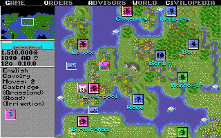 A screenshot from the original Civilization, released in 1991.