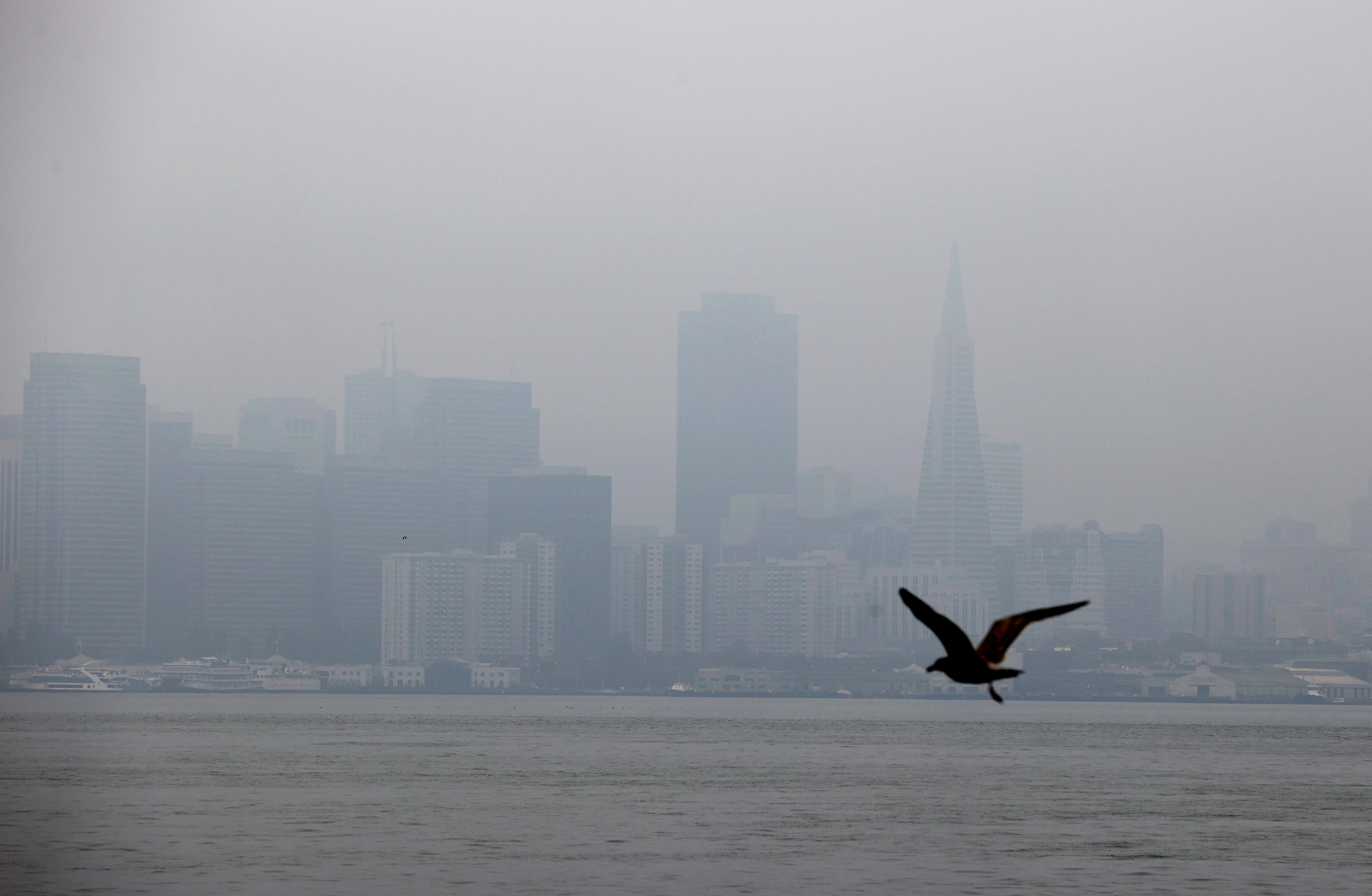 The San Francisco skyline is barely visible through hazy and smoky conditions on Sept. 3, 2020, due to smoke from wildfires raging in California.
