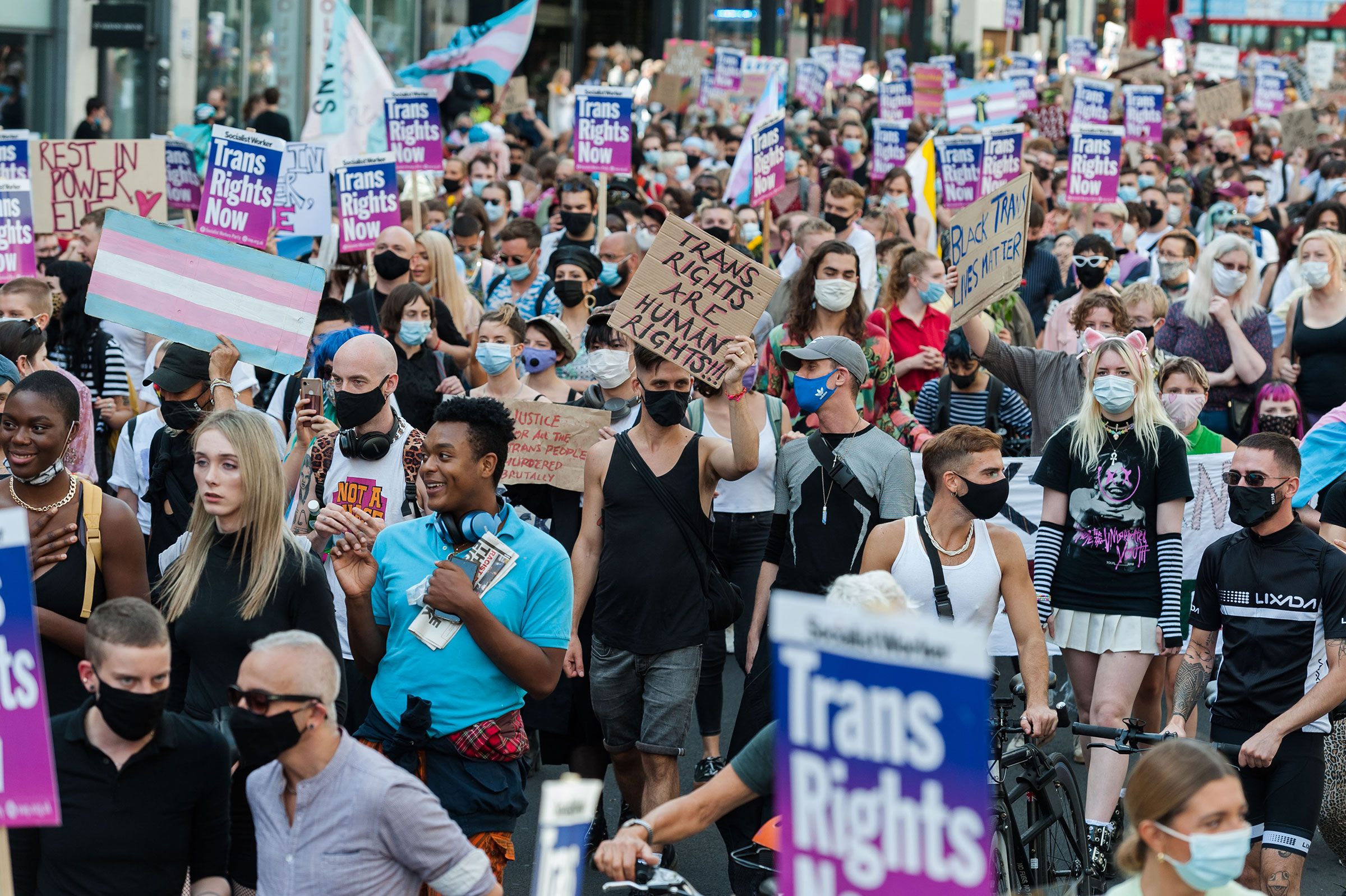 Transgender people and their supporters march through central London during the second Trans Pride protest march for equality on Sept. 12, 2020 in London, England.
