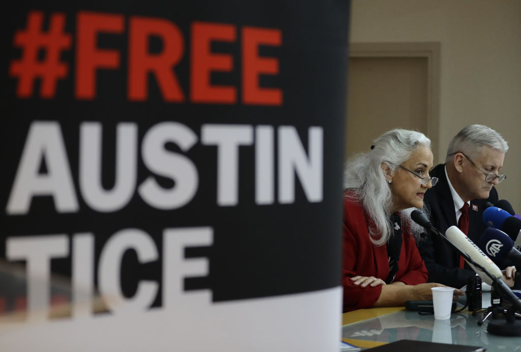 Marc and Debra Tice, the parents of US journalist Austin Tice, who was abducted in Syria more than six years ago, give a press conference in the Lebanese capital Beirut on December 4, 2018.