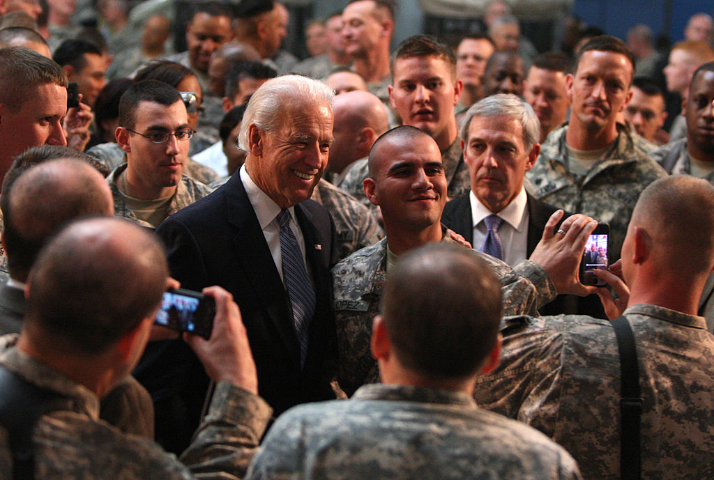 Then US Vice President Joe Biden meets with US soldiers at Baghdad's Camp Victory on January 13, 2011.