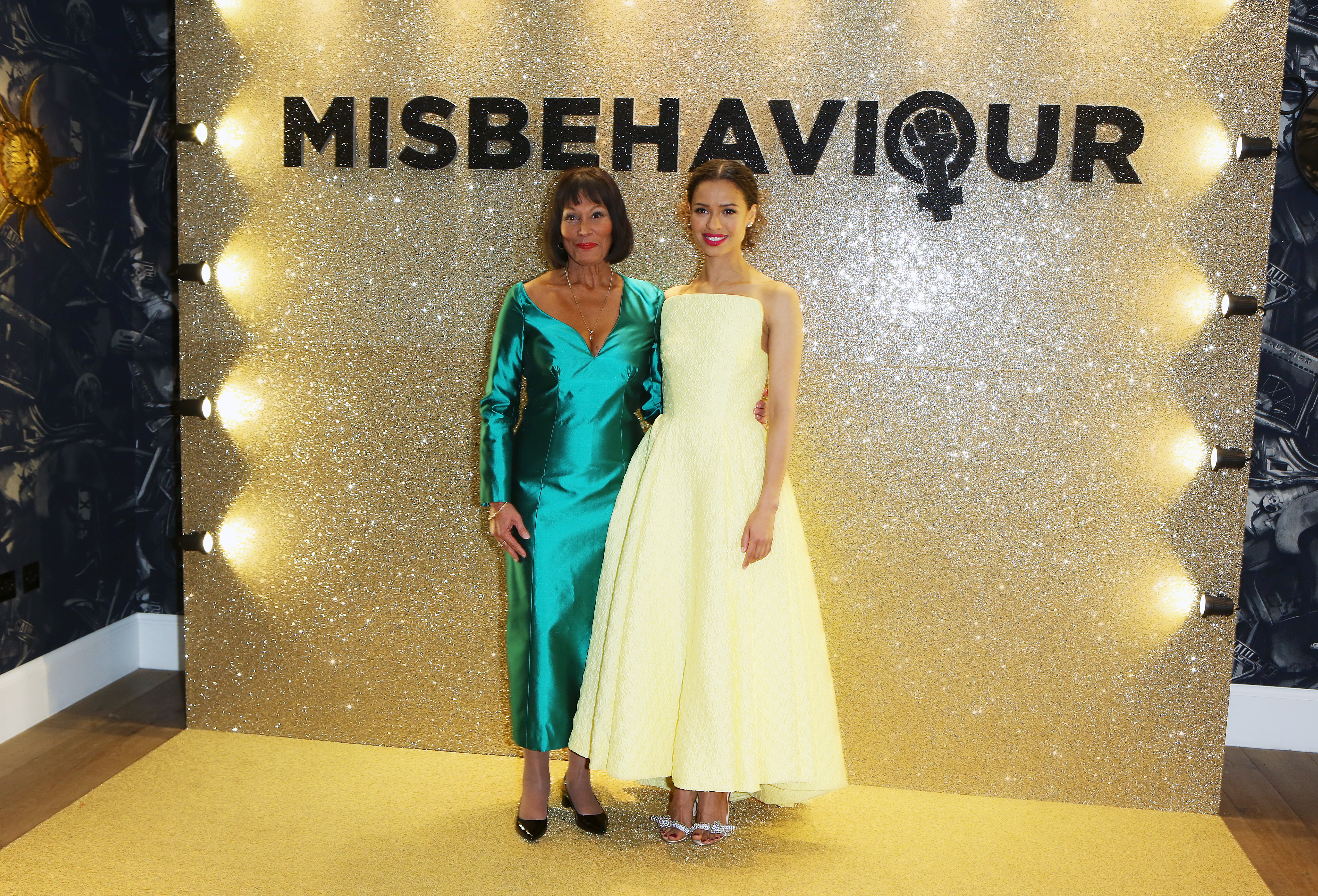 Jennifer Hosten and Gugu Mbatha-Raw attend the World Premiere of  Misbehaviour  on March 09, 2020 in London, England.