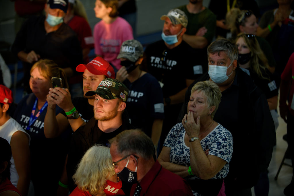 Supports listen to President Donald Trump speak at a campaign rally in Latrobe, Pennsylvania on Sept. 3, 2020.