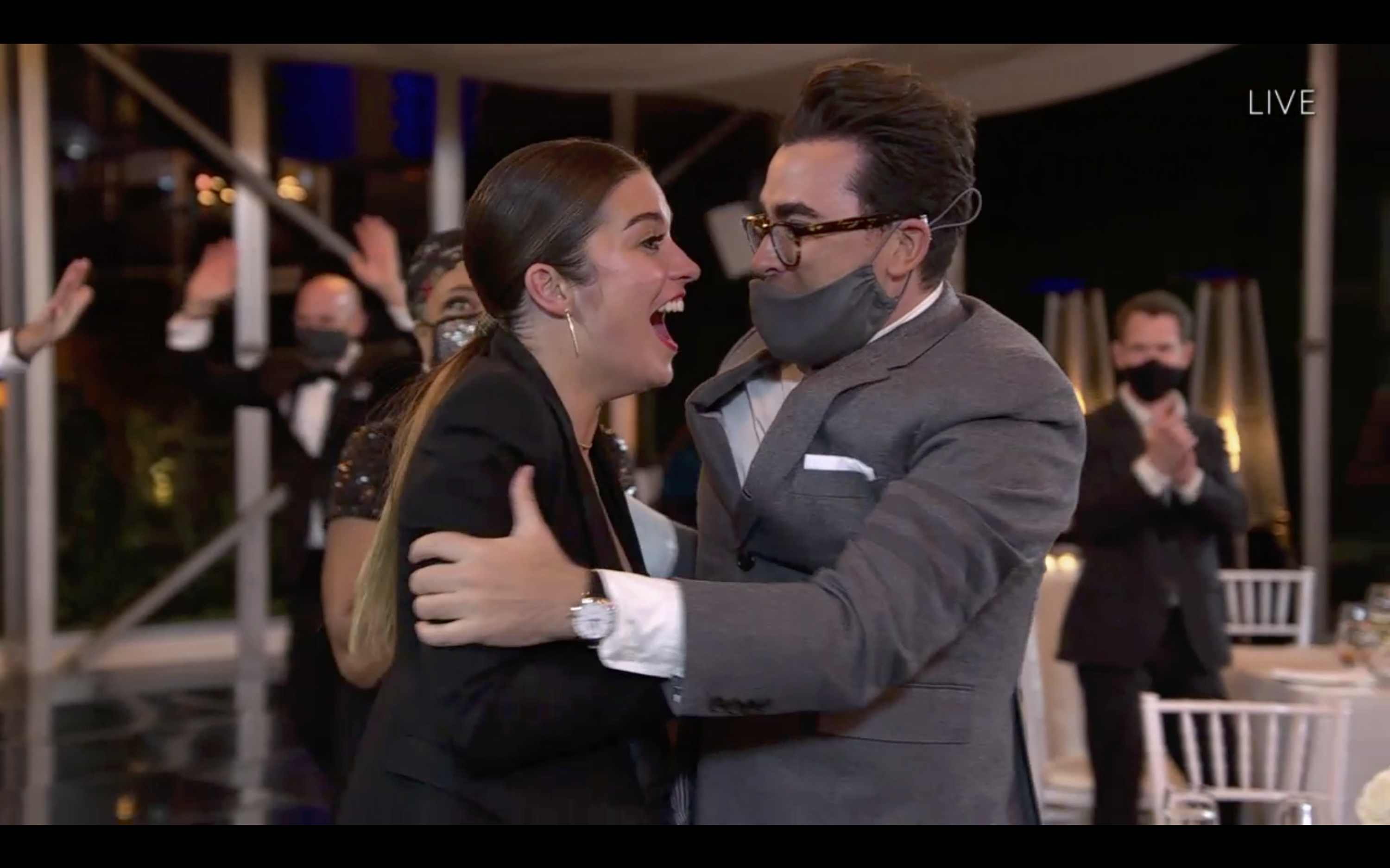 Co-stars Annie Murphy and Dan Levy embrace after Murphy won the award for Best Supporting Actress in a Comedy Series.