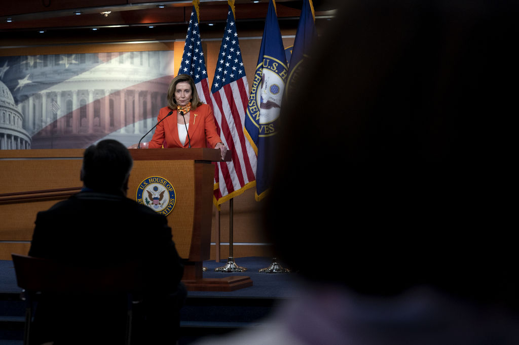 House Speaker Nancy Pelosi addressed the need for new economic relief funding at a news conference at the U.S. Capitol on Sept. 24.