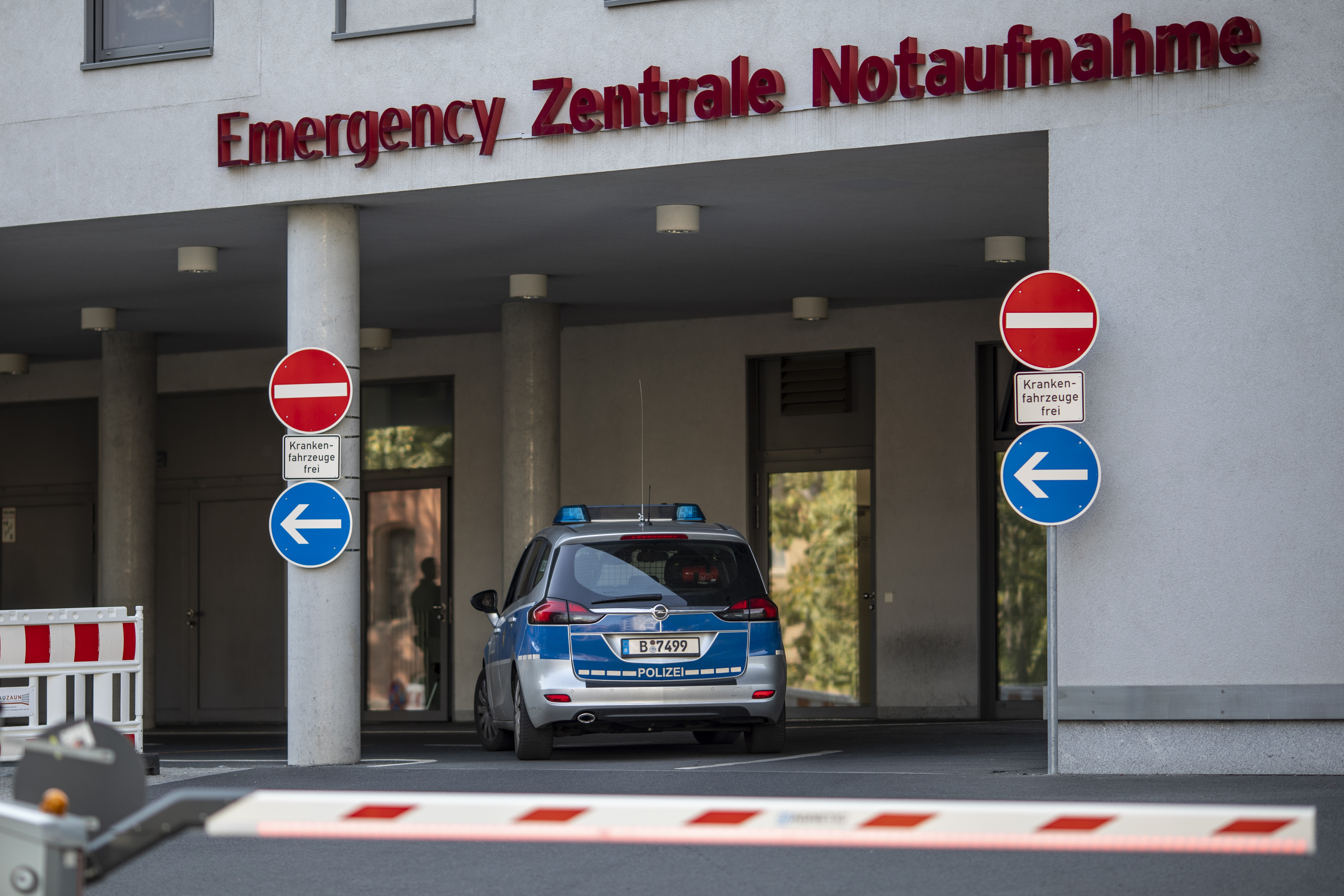 A police car drives to the Charite emergency hospital building where Russian opposition leader Alexei Navalny is treated on September 15, 2020 in Berlin, Germany.