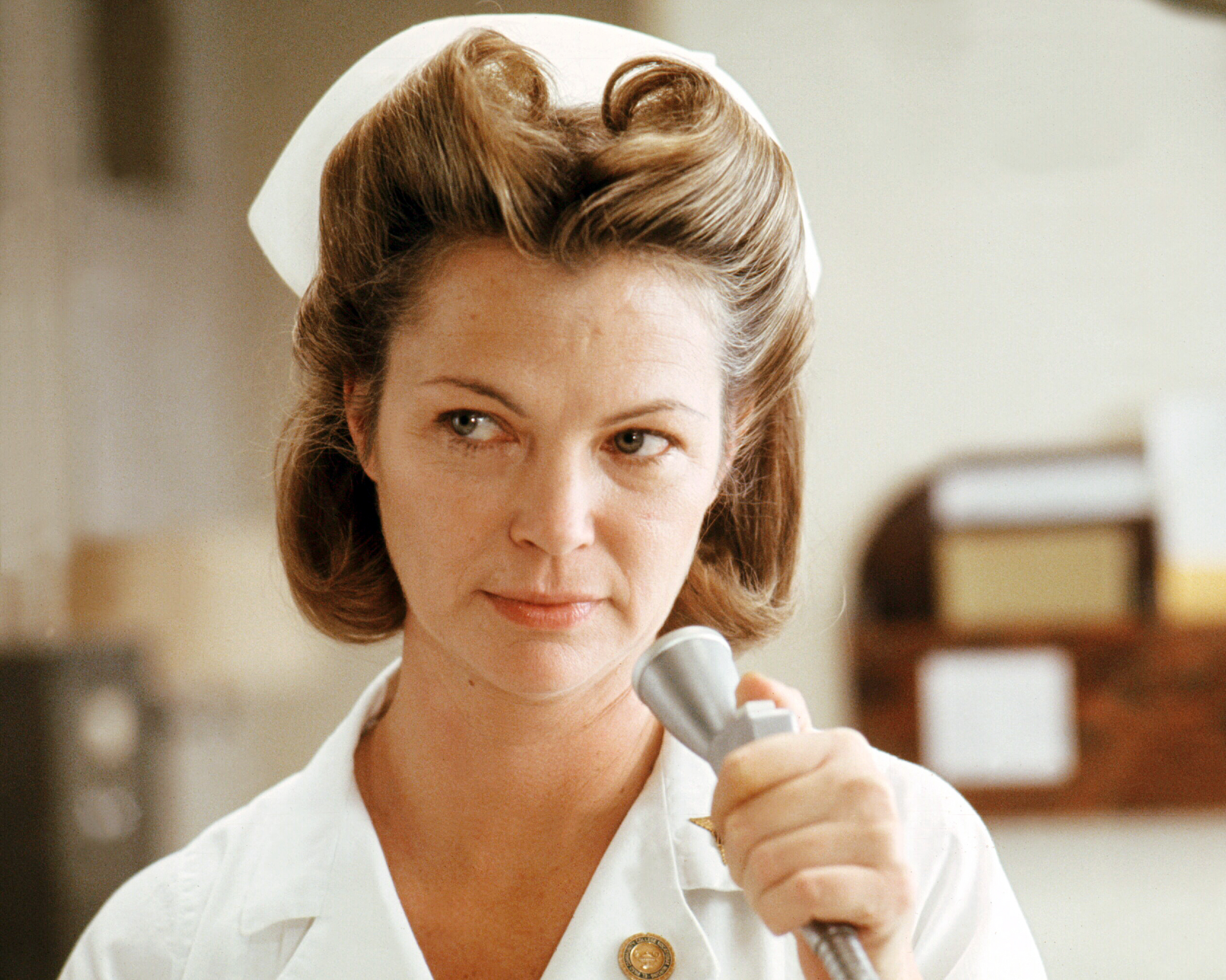 Louise Fletcher as Nurse Ratched in 'One Flew Over The Cuckoo's Nest', directed by Milos Forman, 1975.