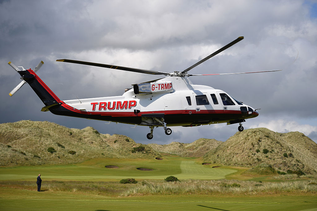 Then Presumptive Republican nominee for US president Donald Trump arrives in a helicopter at Trump International Golf Links in Aberdeen, Scotland, on June 25, 2016.
