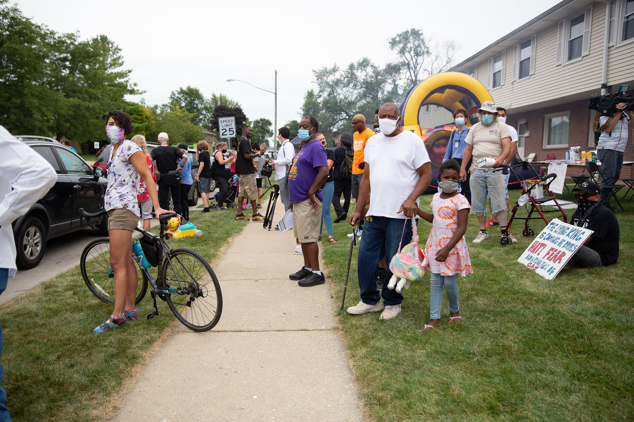 A peaceful gathering early Tuesday near the site where Jacob Blake was shot by police in Kenosha, Wis., on Sept. 1, 2020.