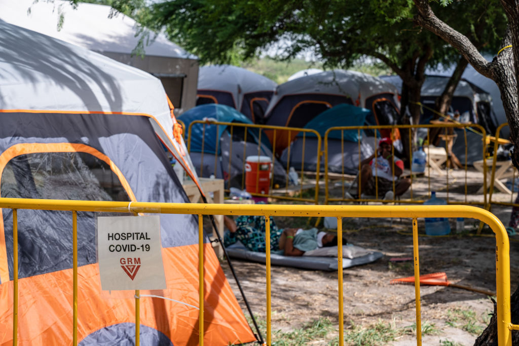 A sign demarcating the edge of the isolation area at the Matamoros tent encampment for asylum seekers on July 13, 2020.